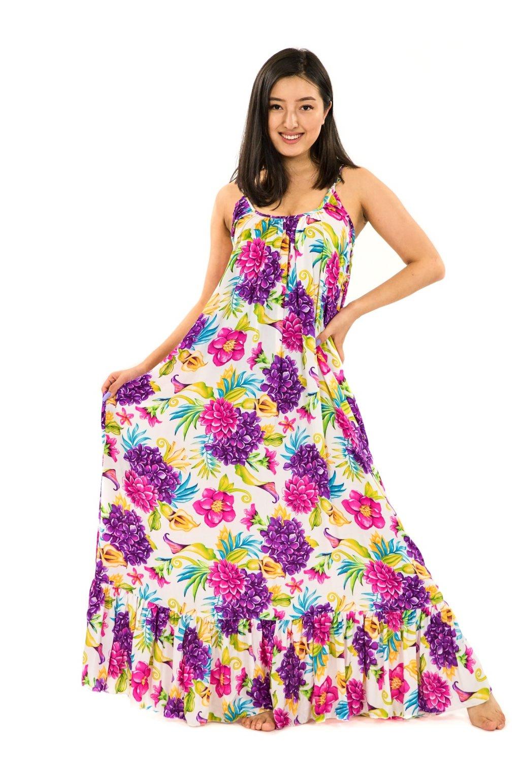 Vzdušné maxi šaty Matea - bílé