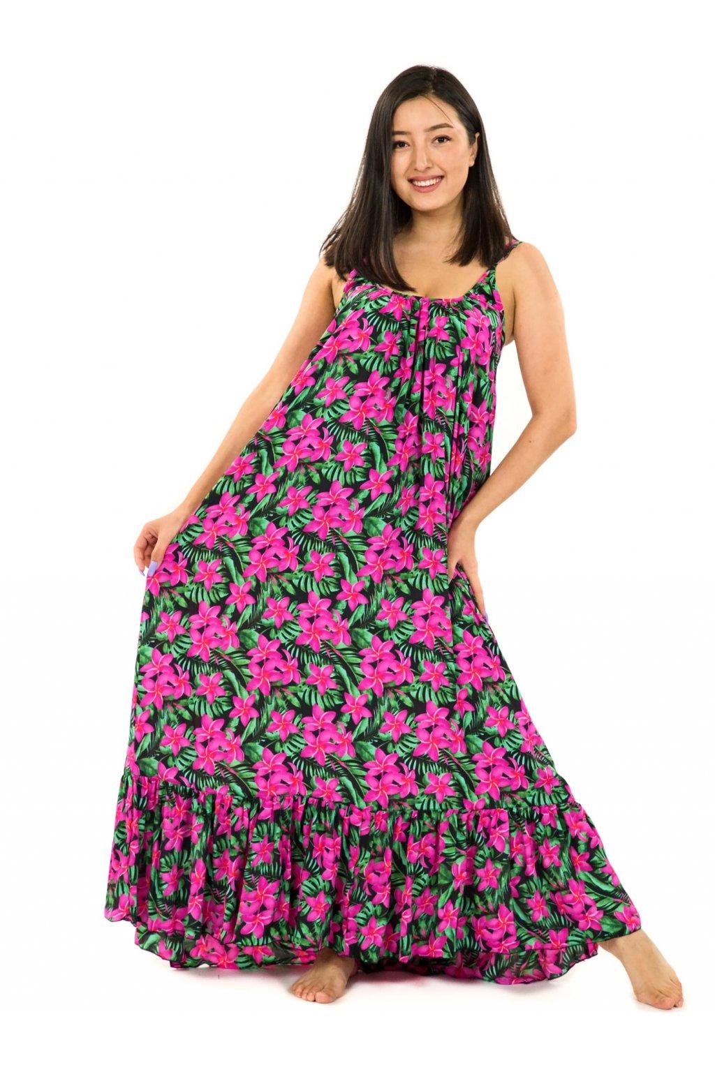 Vzdušné maxi šaty Plumeria - zelená s růžovou