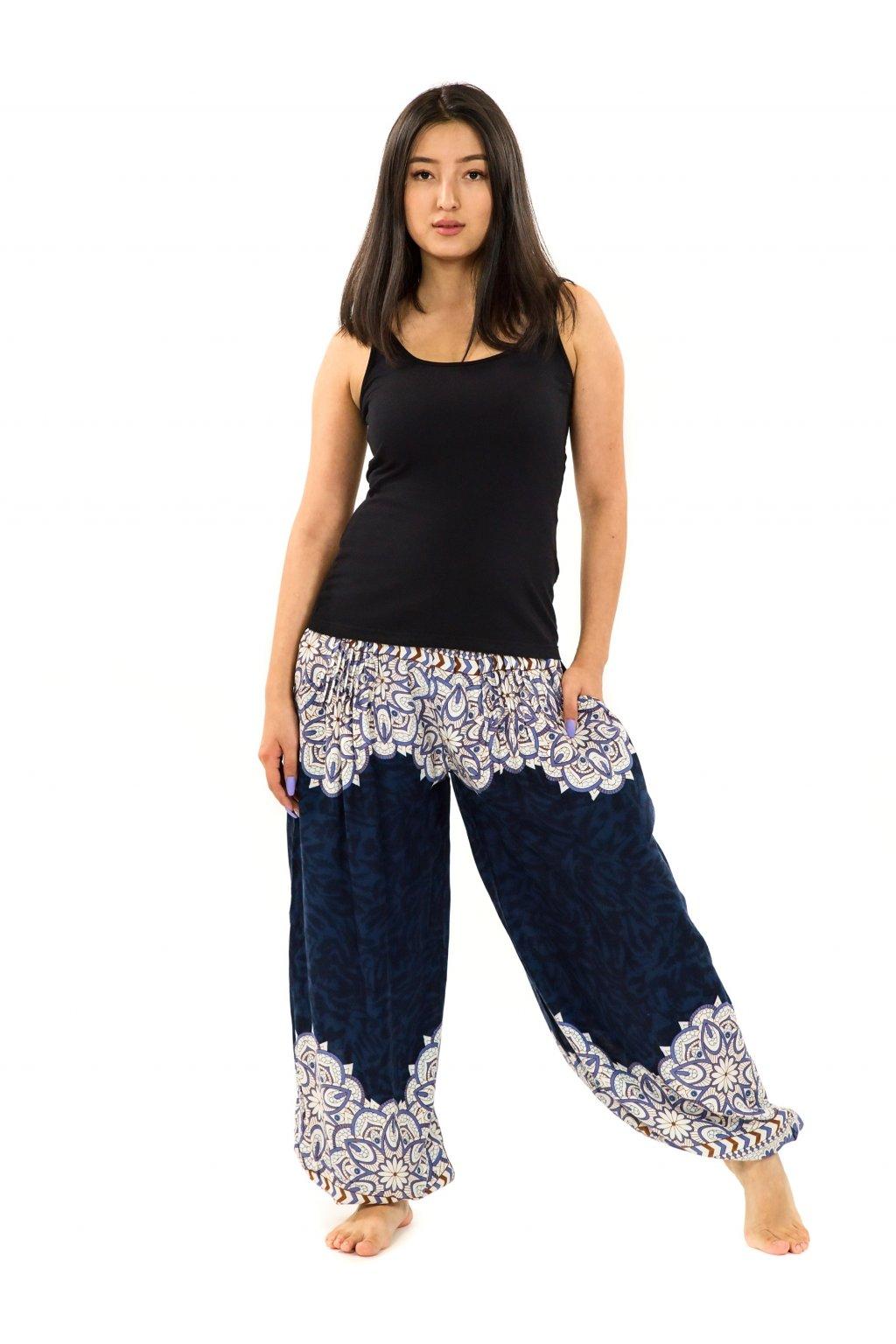 Kalhoty Tiaki - tmavě modré s fialovou