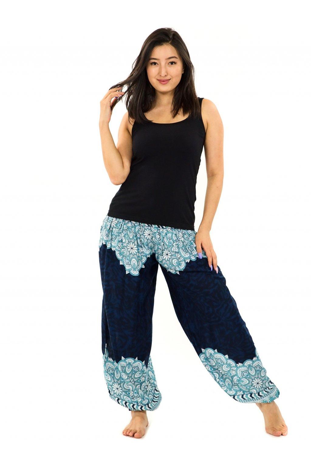 Kalhoty Tiaki - tmavě modré s tyrkysovou