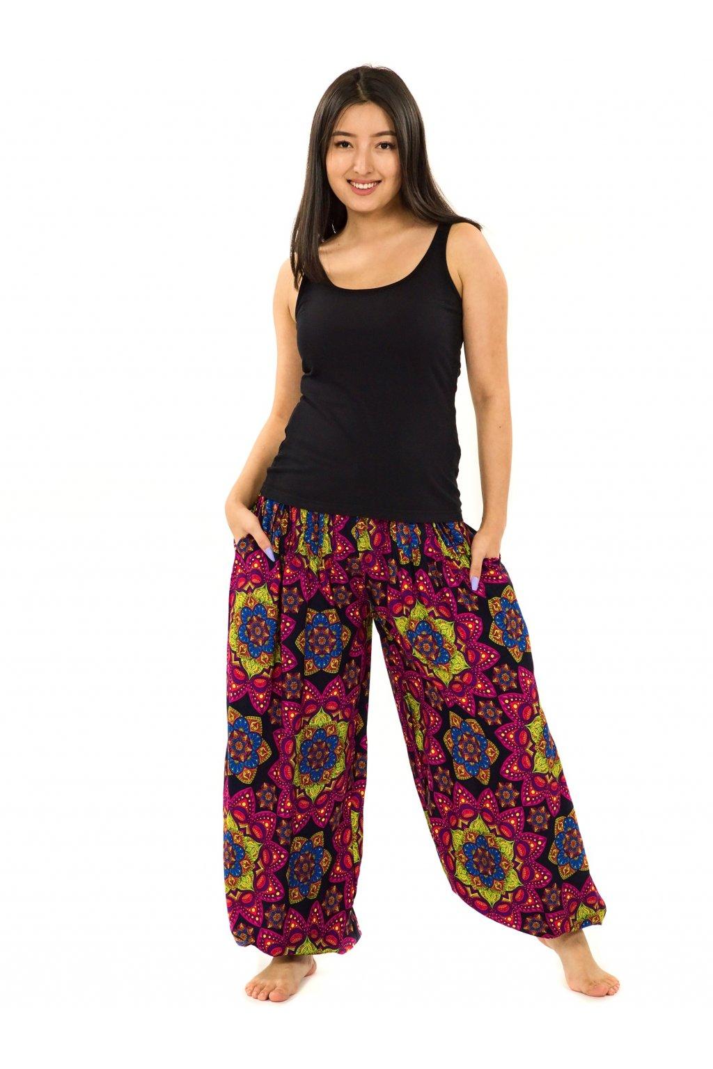 Kalhoty Puri - černá s růžovou