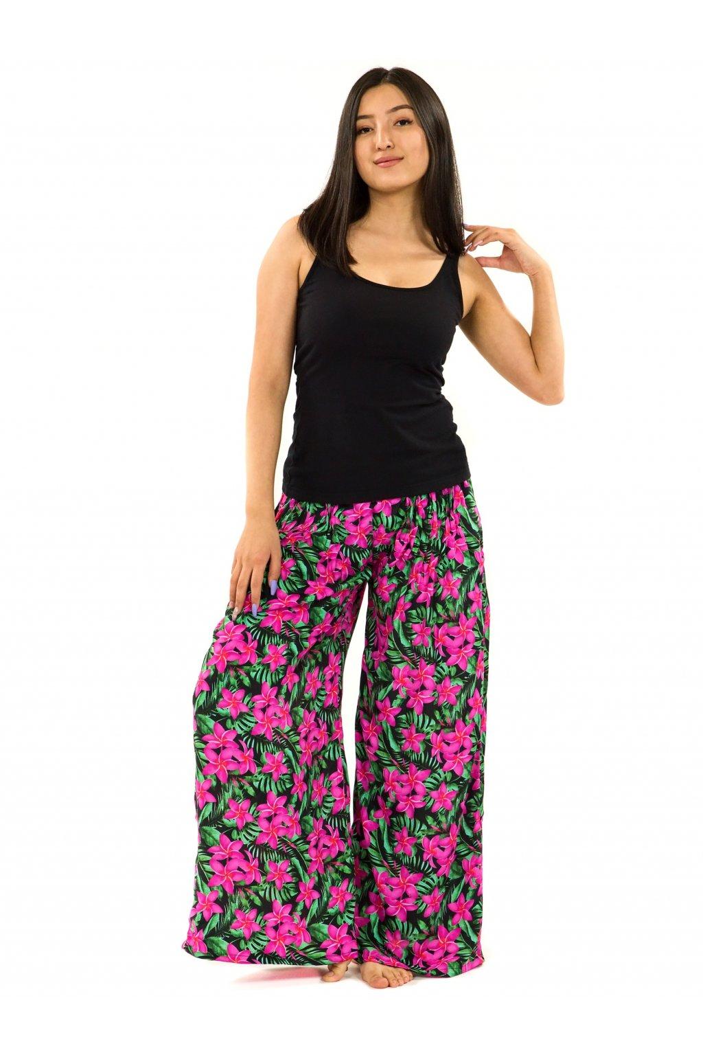 Maxi kalhoty Plumeria - zelená s růžovou