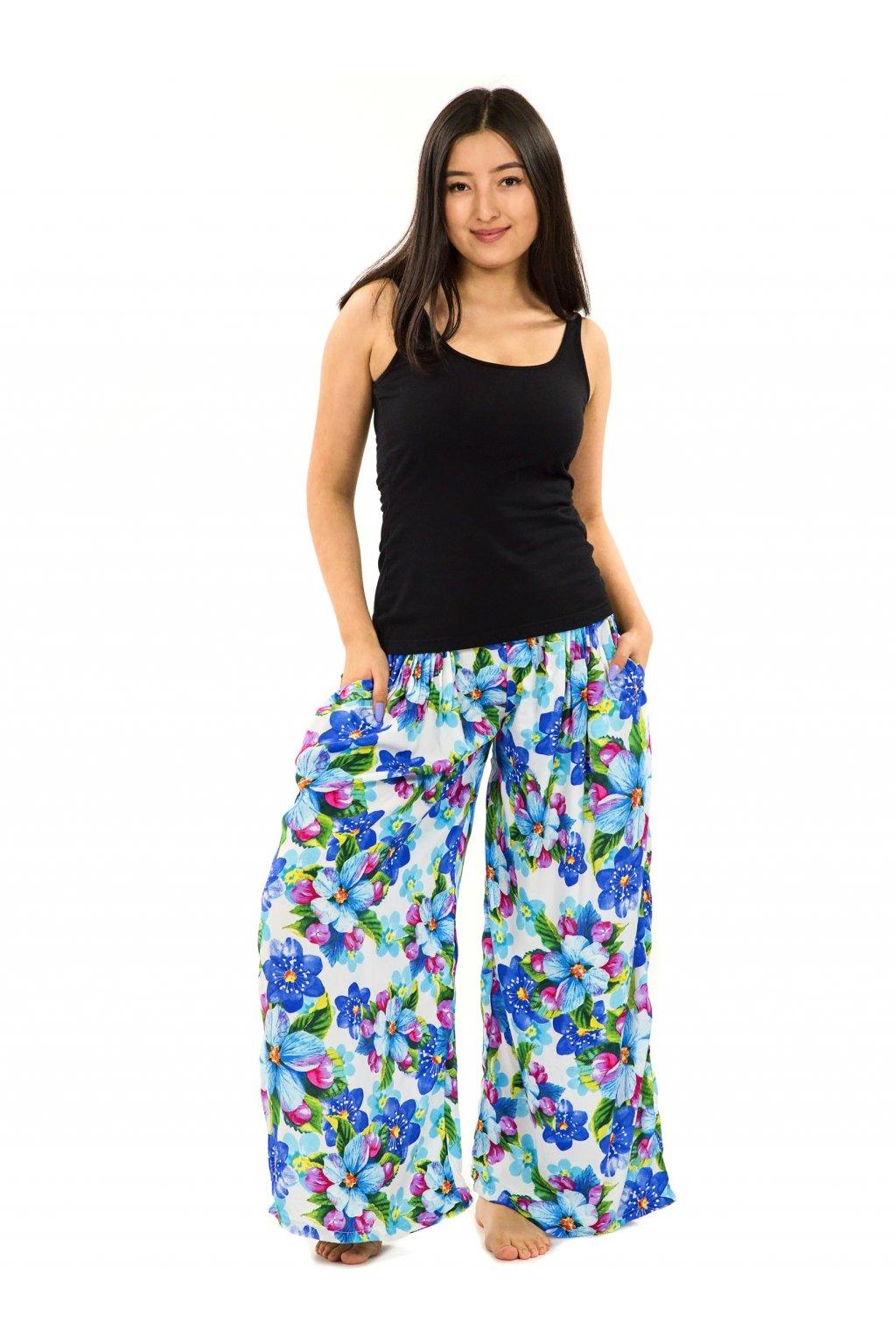 Maxi kalhoty Puena - bílá s tyrkysovou
