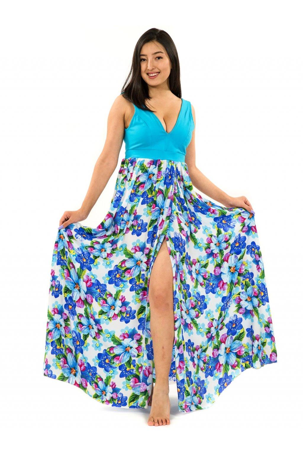 Dlouhé maxi šaty Puena - bílá s tyrkysovou