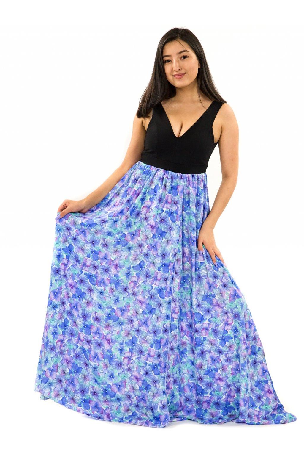 Dlouhé maxi šaty Rotuma - tyrkysová s fialovou