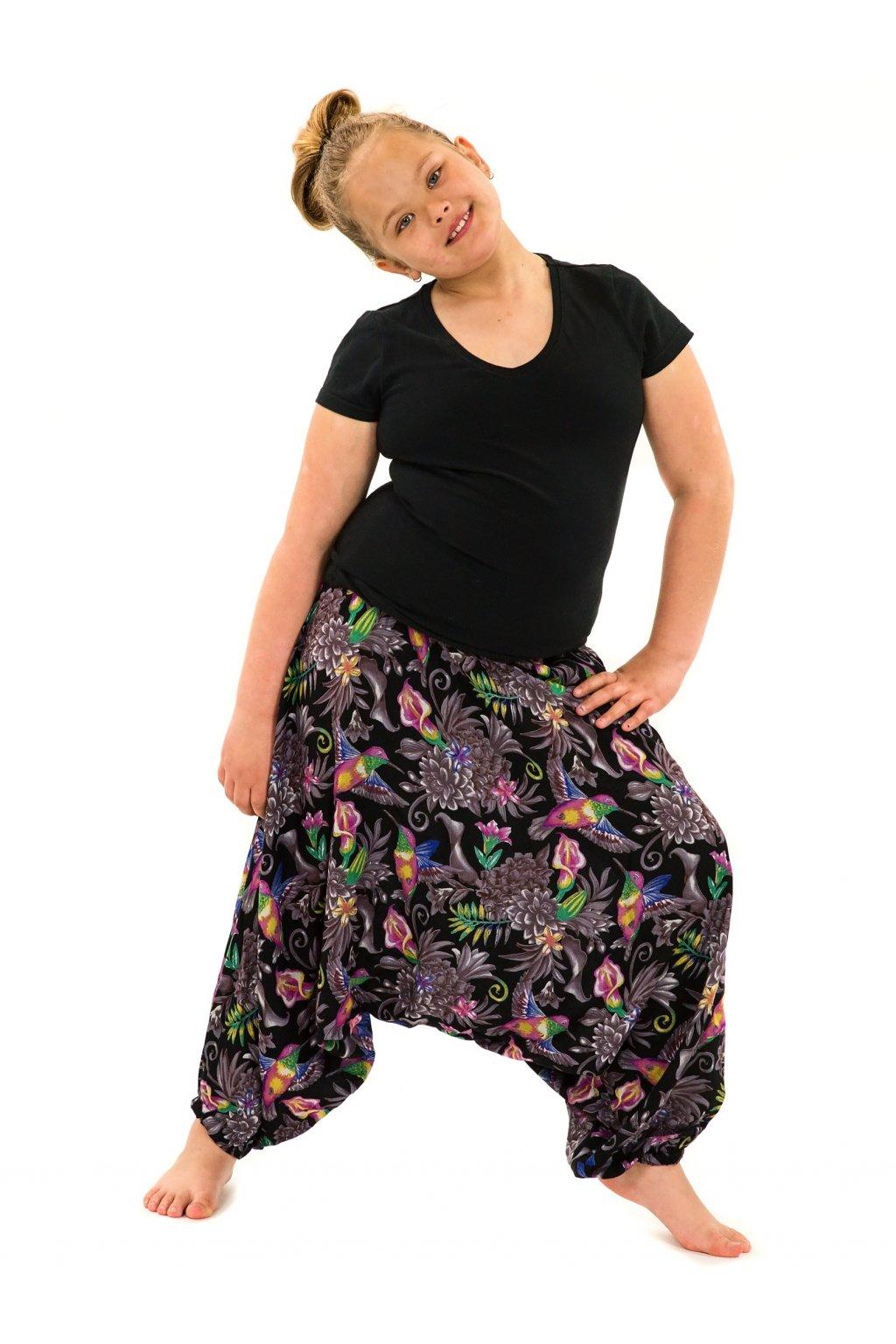 Dětské kalhoty-šaty 2v1 Tahanea - černé