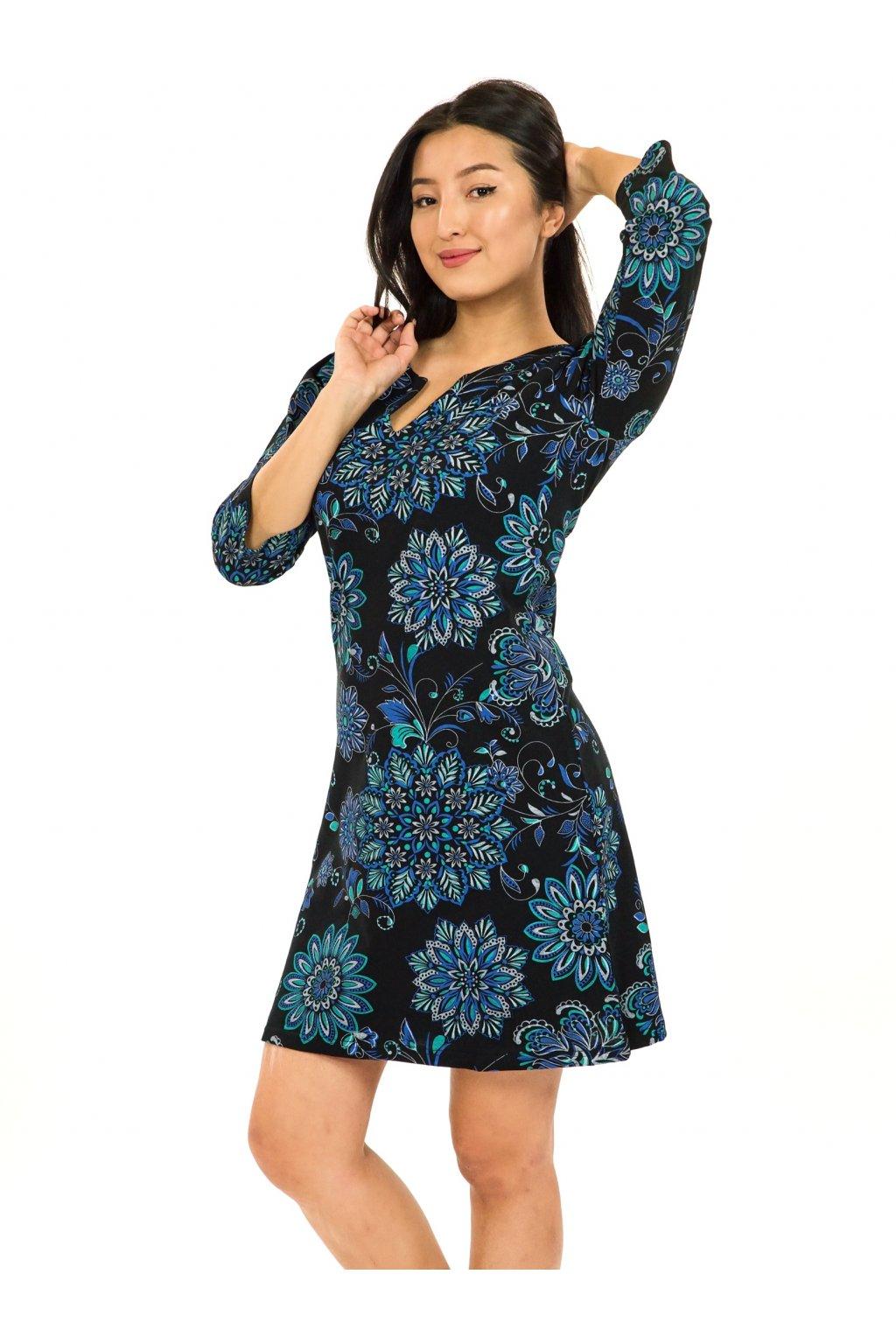 Šaty s 3/4 rukávem Rita - černá s tyrkysovou