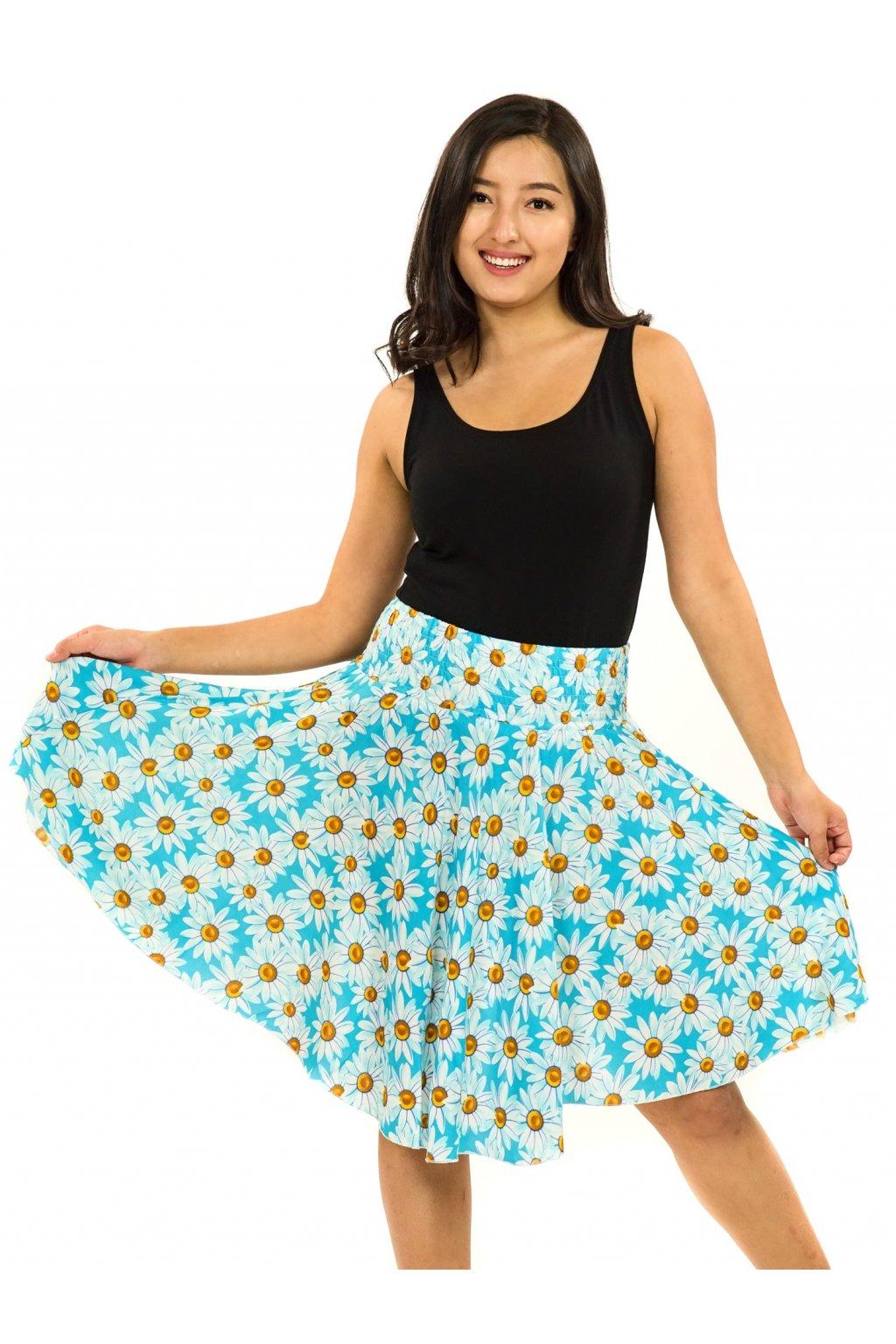 Kolová sukně Kopretina - tyrkysová