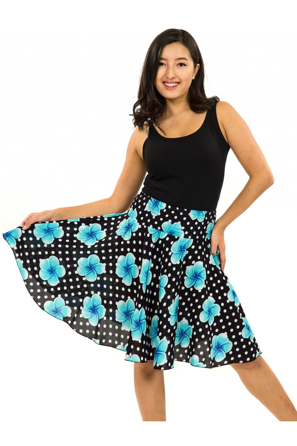 Kolová sukně Plumeria - černá s tyrkysovou