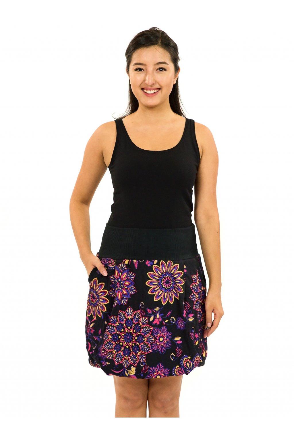 Balonová sukně Madia - černá s růžovou