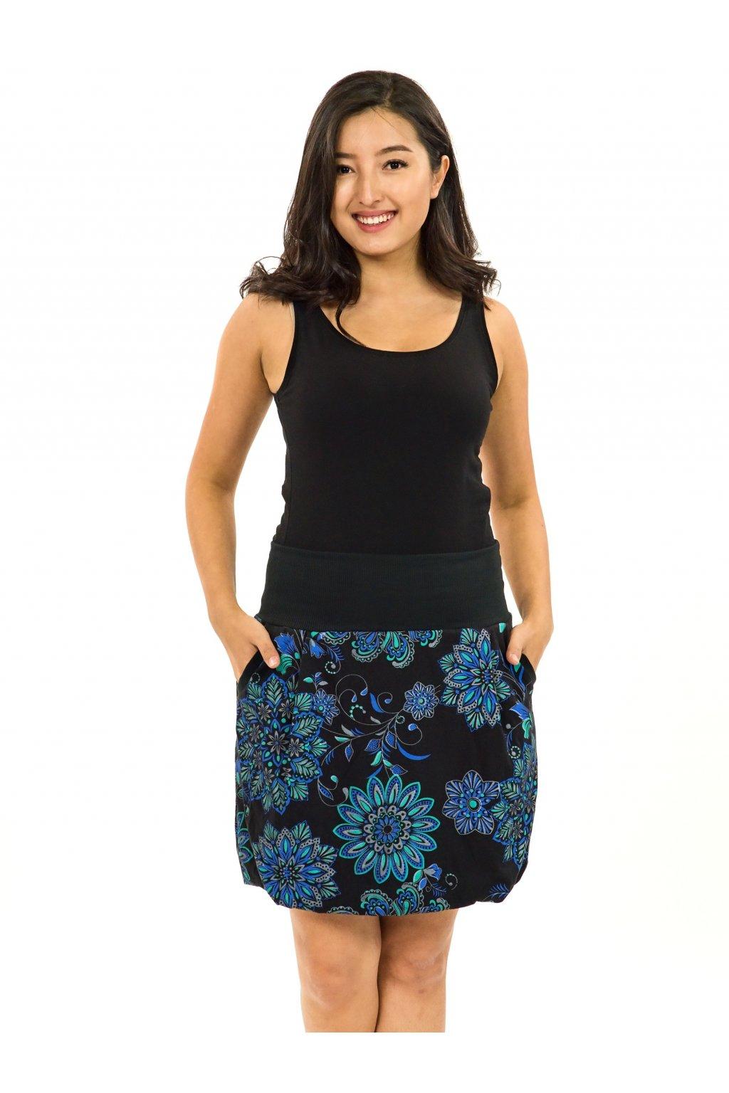 Balonová sukně Madia - černá s tyrkysovou