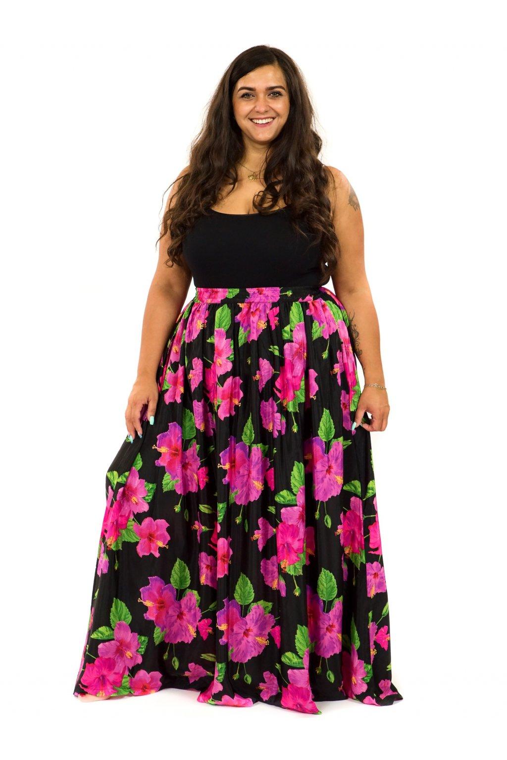 Maxi sukně s kapsami Ibišek - černá s růžovou