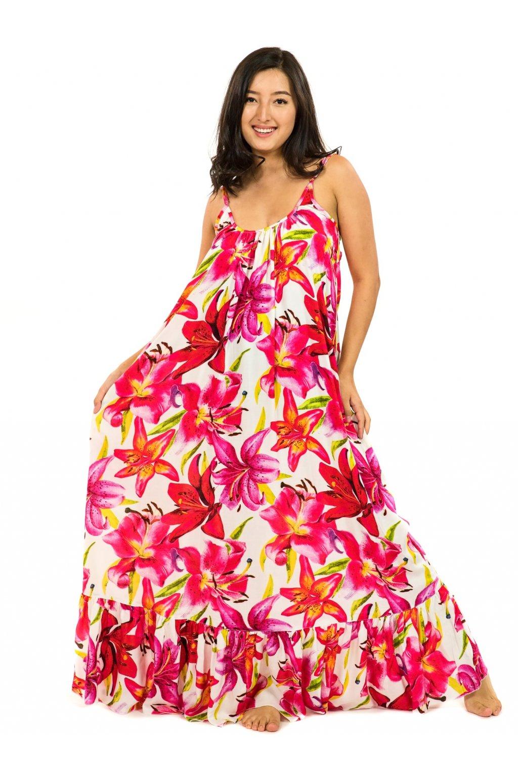 Vzdušné maxi šaty Lilie - bílá s červenou