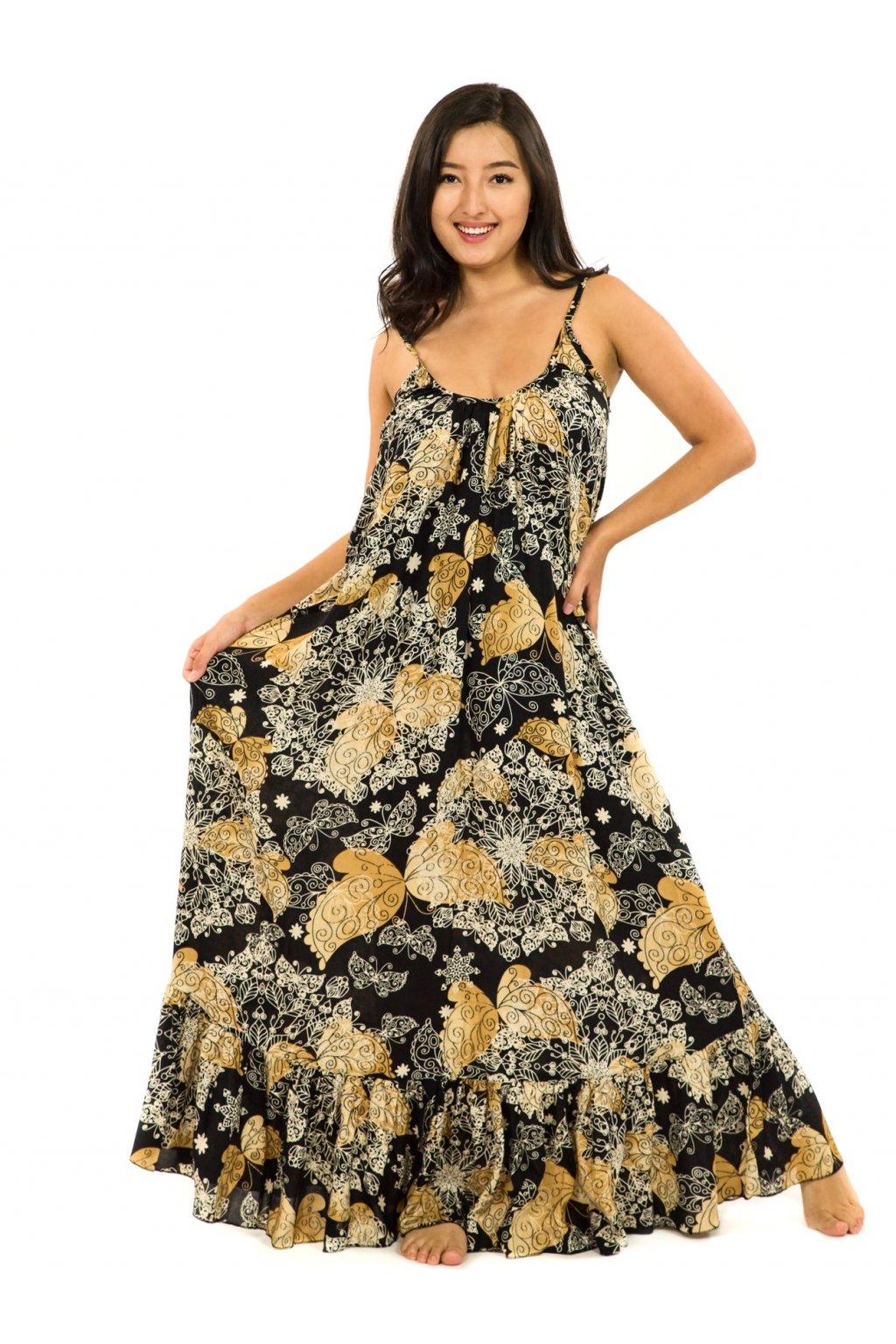 Vzdušné maxi šaty Butterfly - černá se zlatou