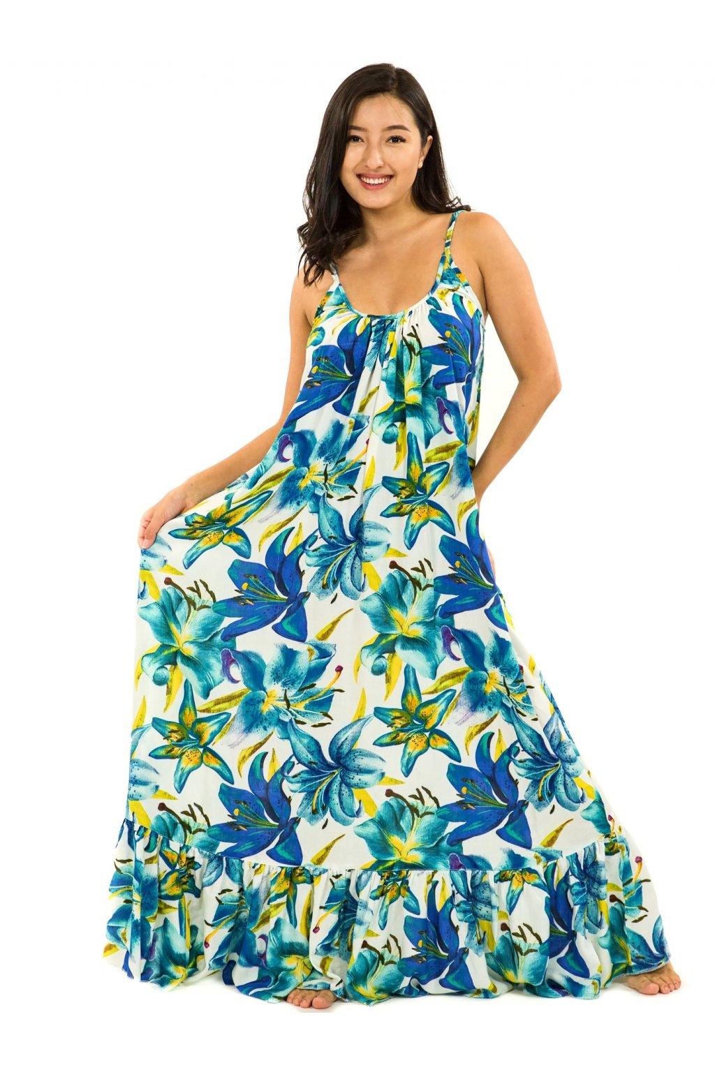 Vzdušné maxi šaty Lilie - bílá s tyrkysovou