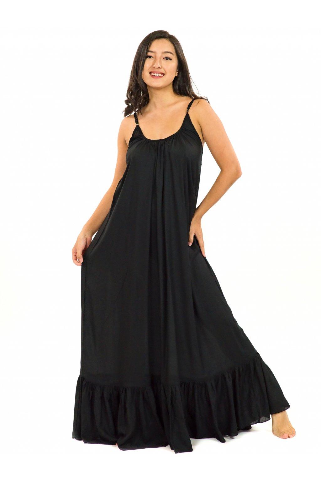 Vzdušné maxi šaty Monoi - černé