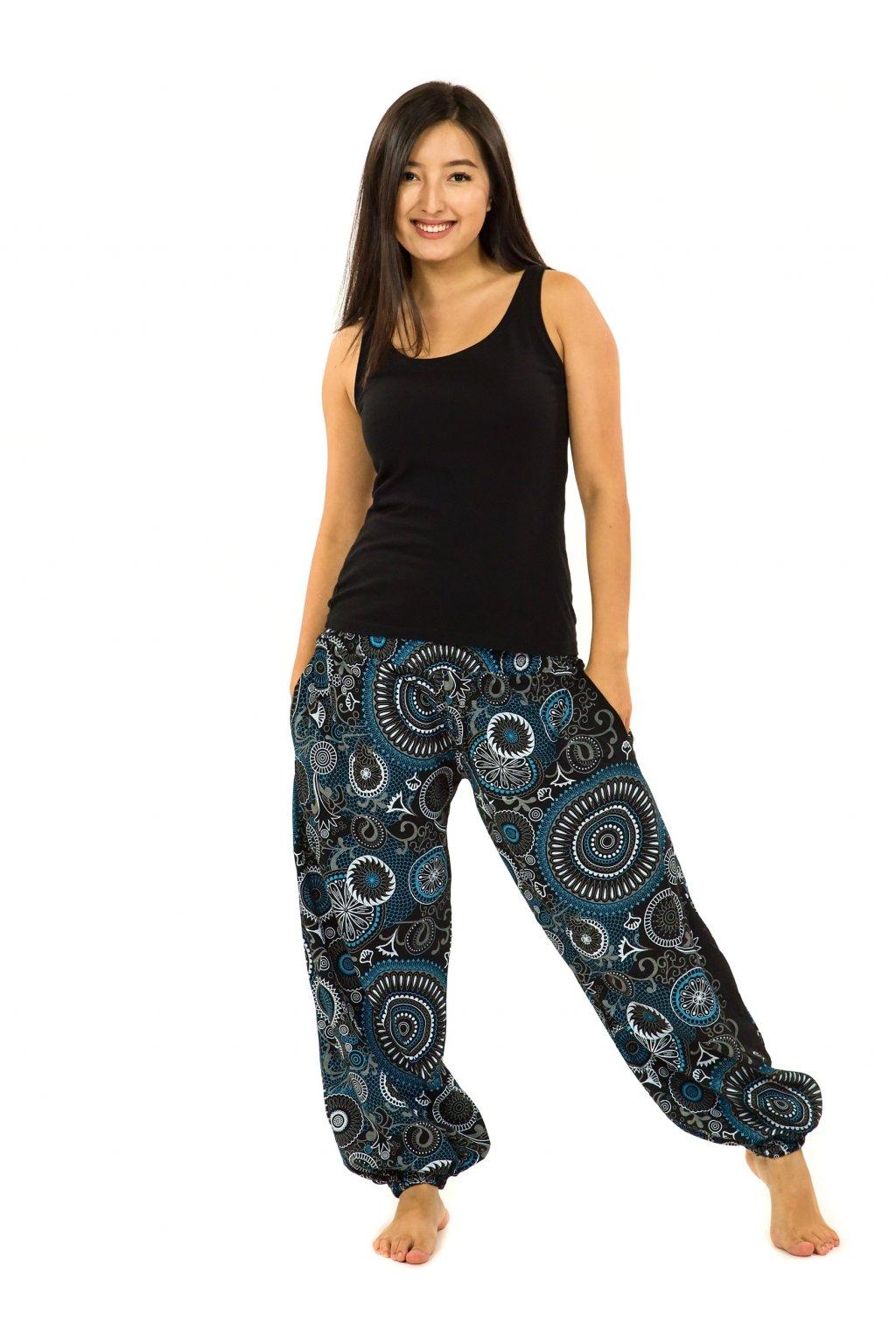 Kalhoty Karki - černá s modrou