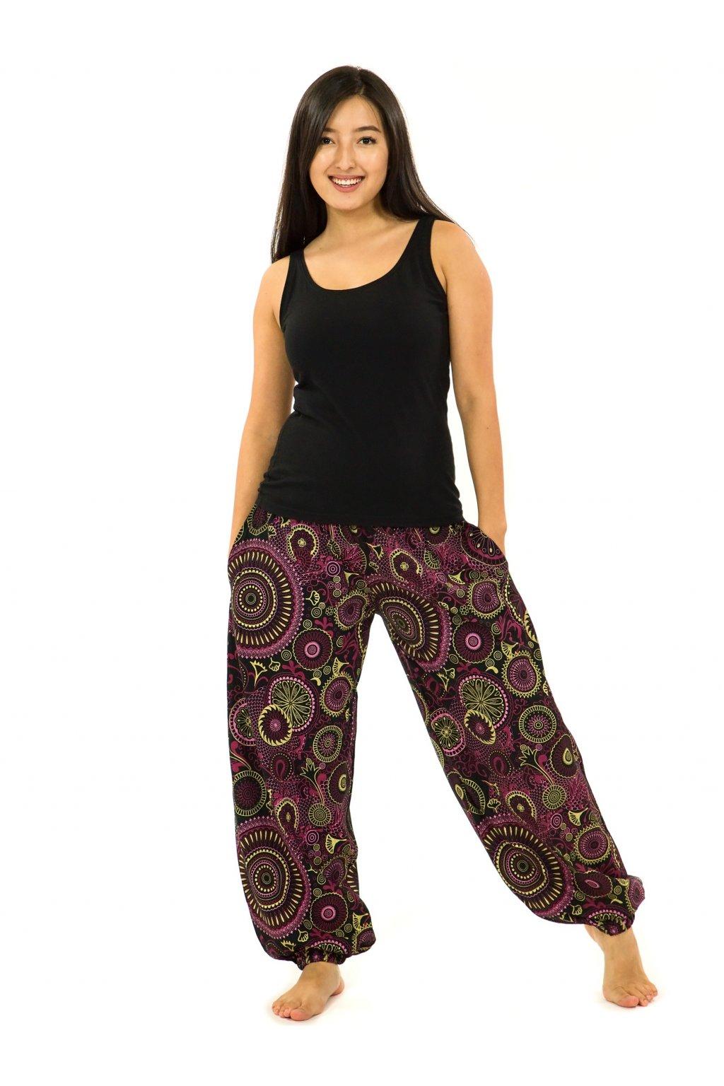 Kalhoty Karki - černá s růžovou