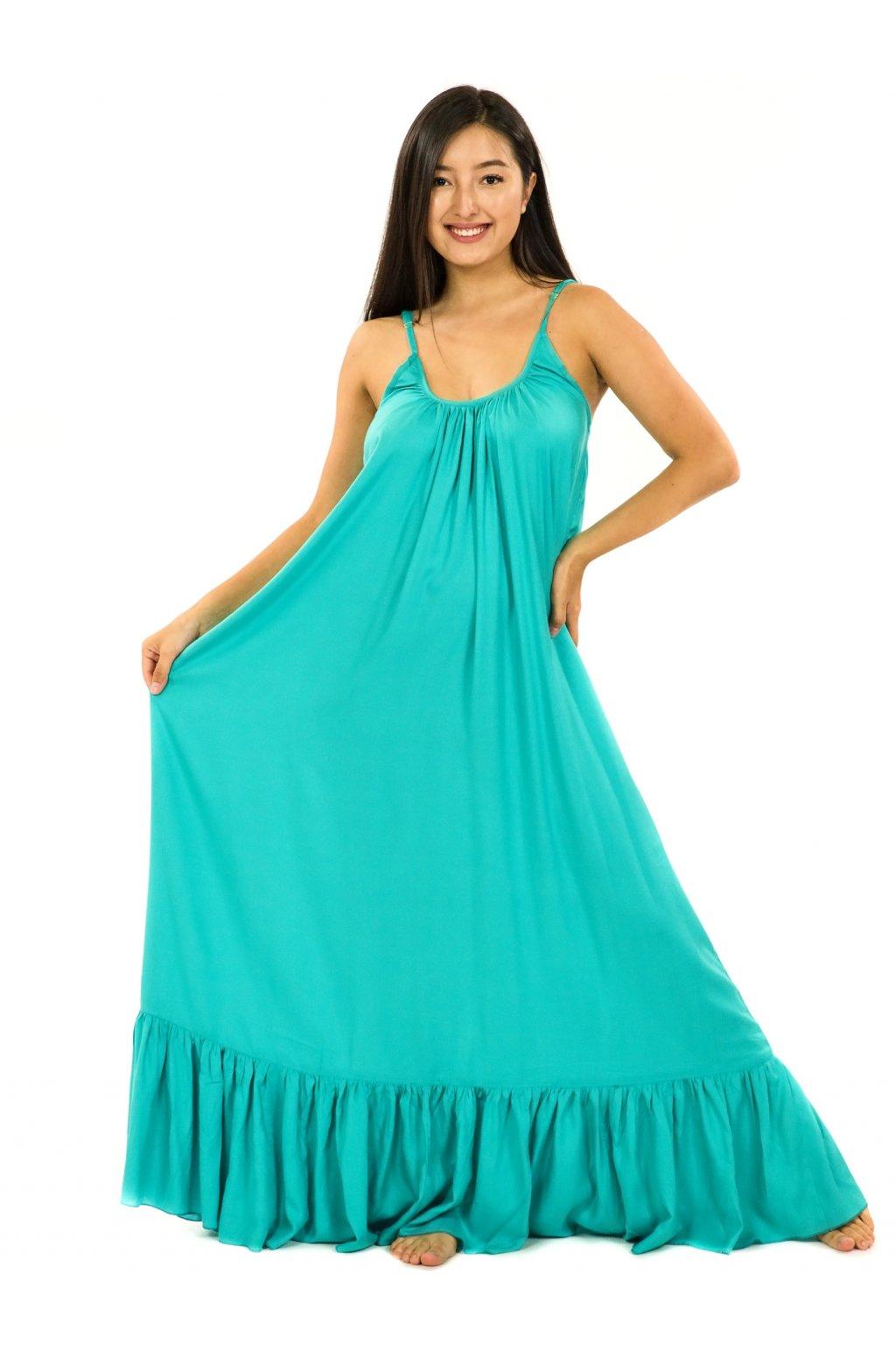 Vzdušné maxi šaty Monoi - smaragdová