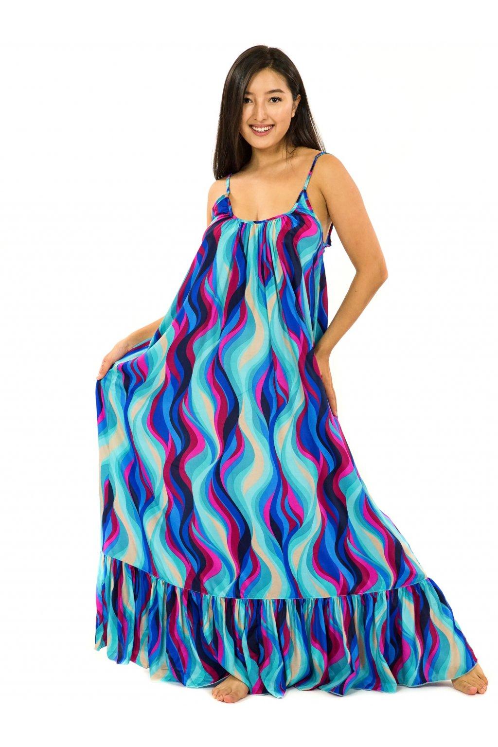 Vzdušné maxi šaty Vlny - tyrkysová s růžovou