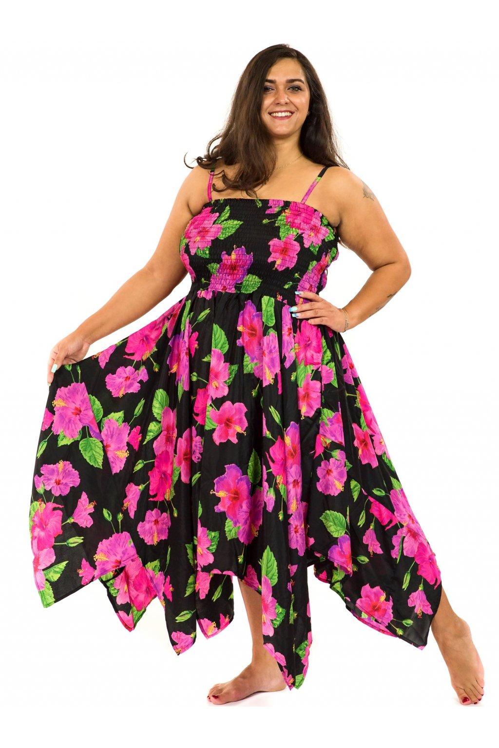 Šaty-sukně 2v1 Dawa Ibišek - černá s růžovou