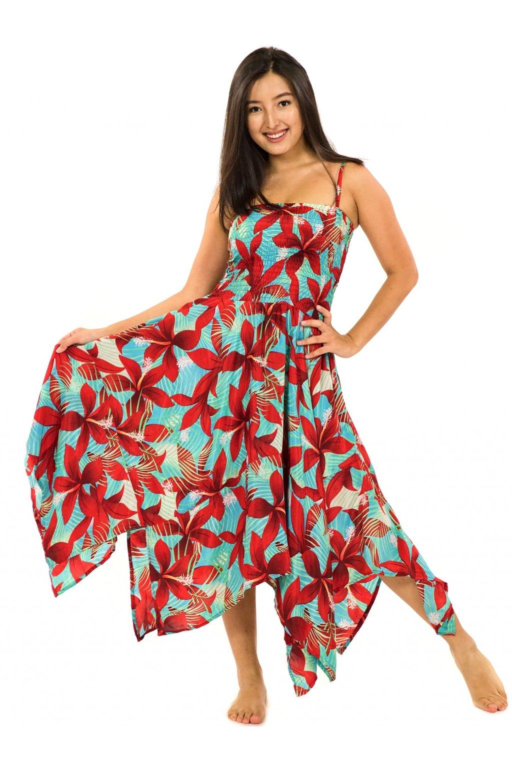 Šaty-sukně 2v1 Dawa Ibišek - tyrkysová s červenou