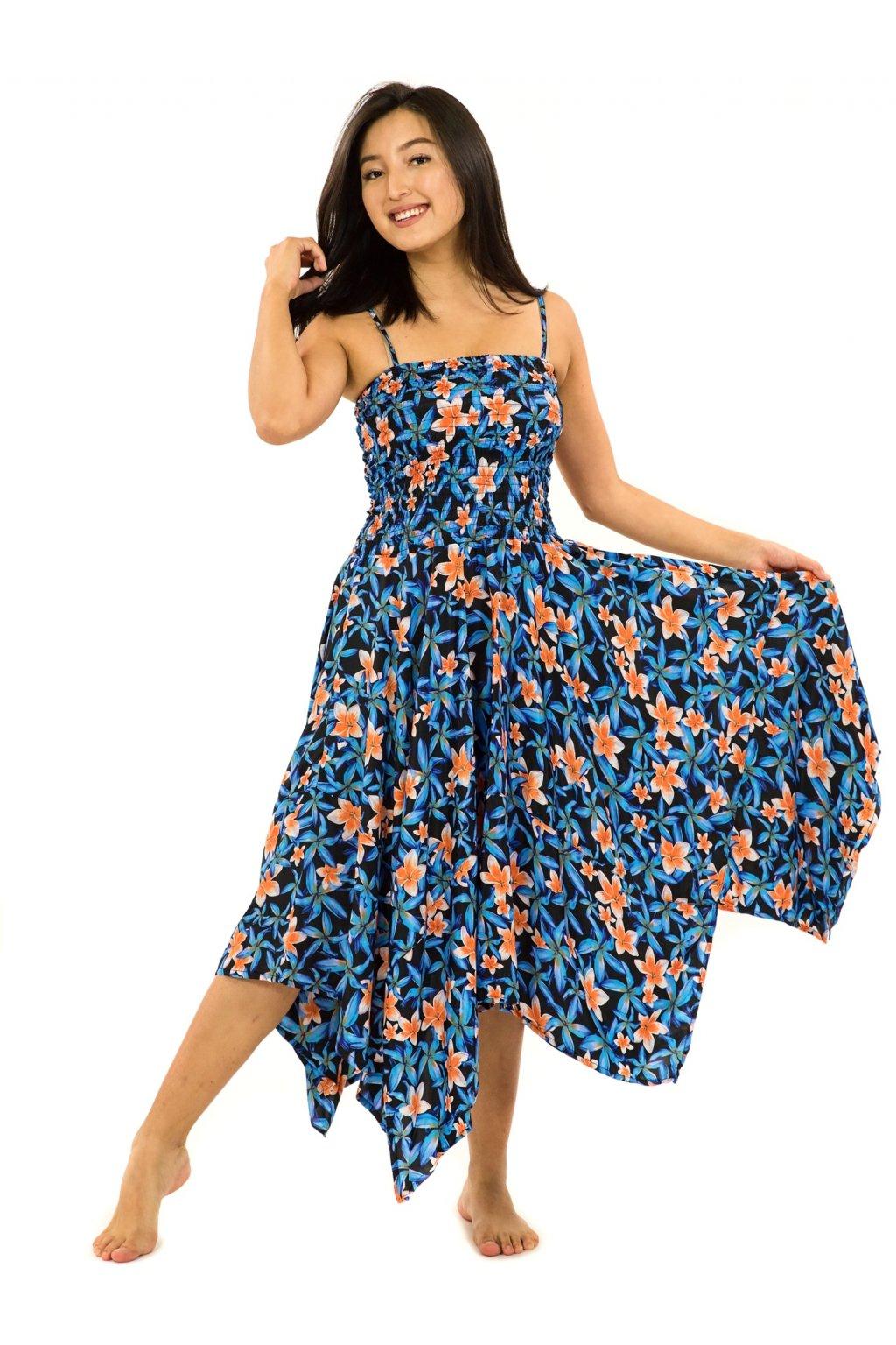 Šaty-sukně 2v1 Dawa Plumeria - tyrkysová s oranžovou