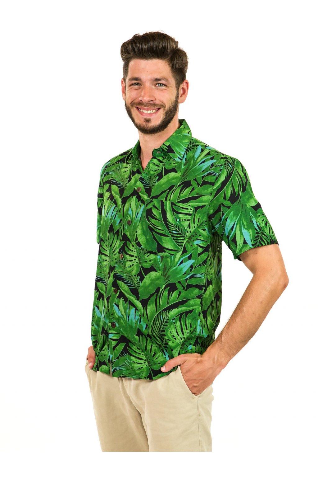 Pánská košile Listy - černá se zelenou