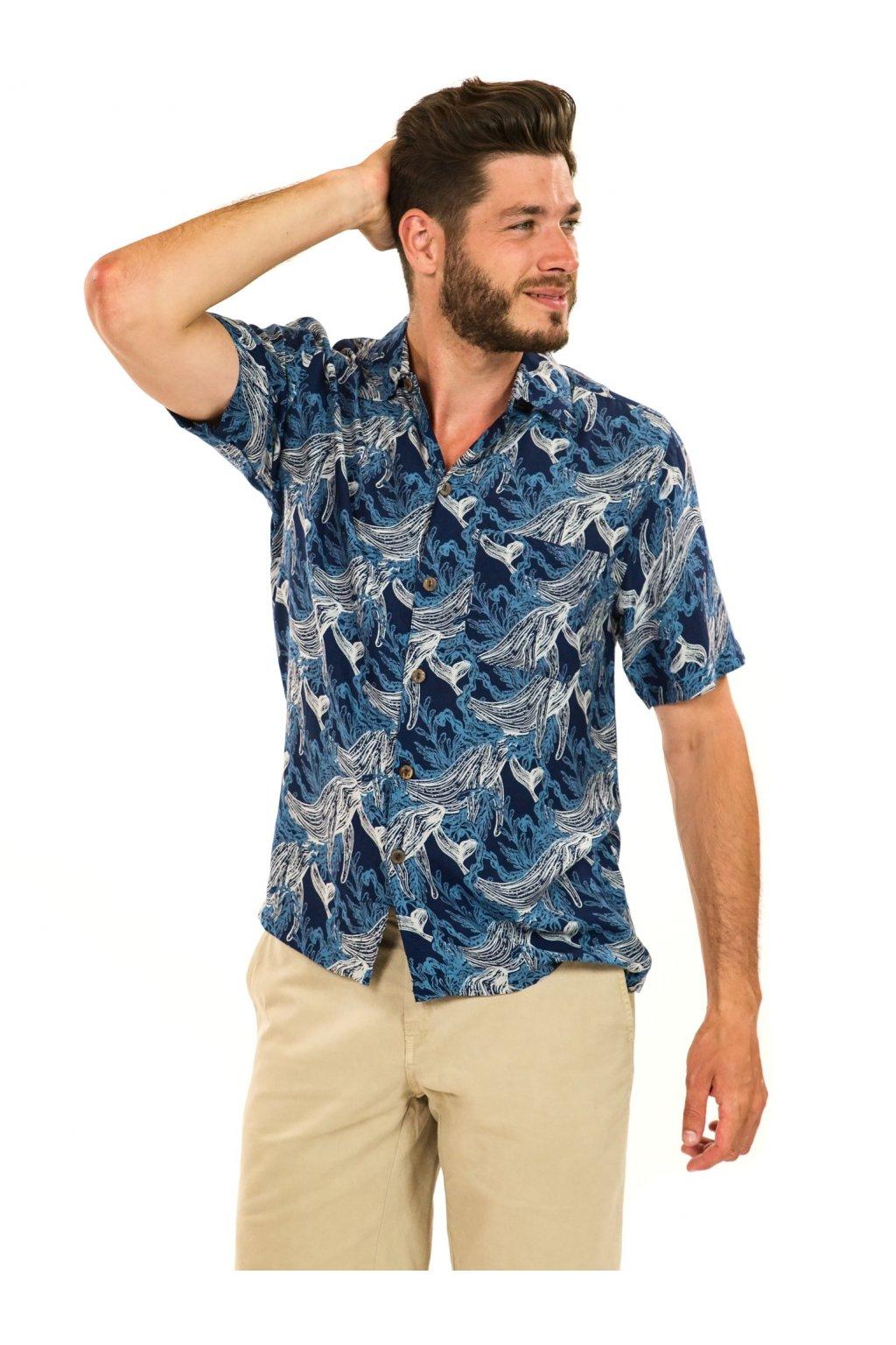 Pánská košile Whale - modrá s bílou