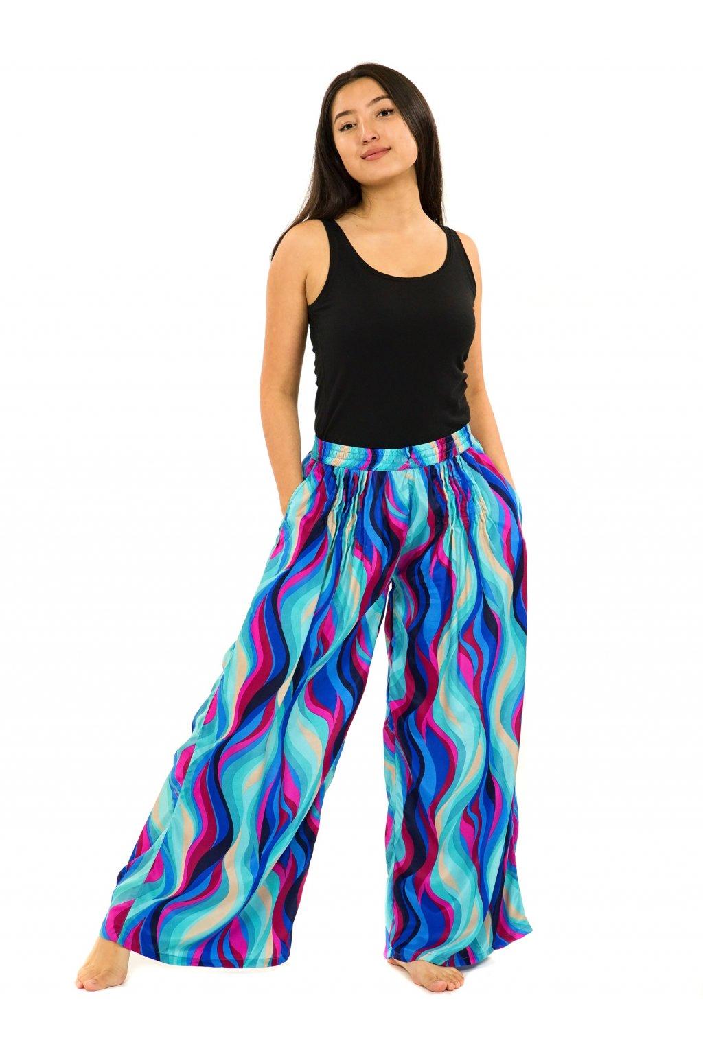 Široké kalhoty Vlny - tyrkysová s růžovou
