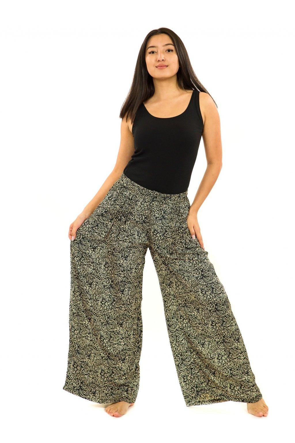 Široké kalhoty Shanti - černá s béžovou