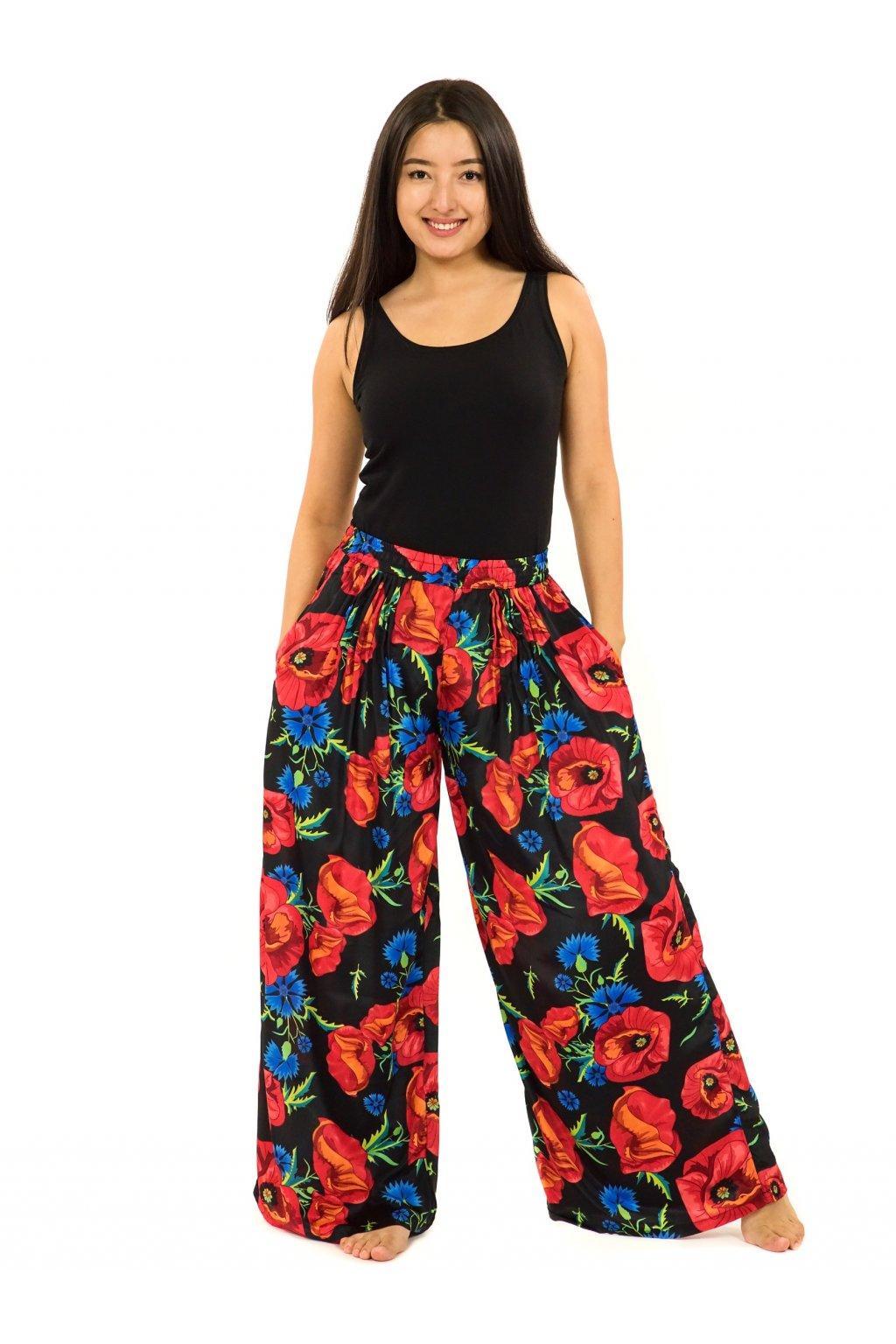 Široké kalhoty Vlčí mák - černá s červenou