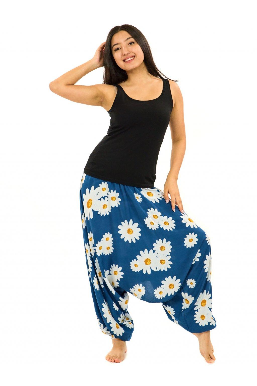 Kalhoty-šaty-top 3v1 Kopretina - modrá