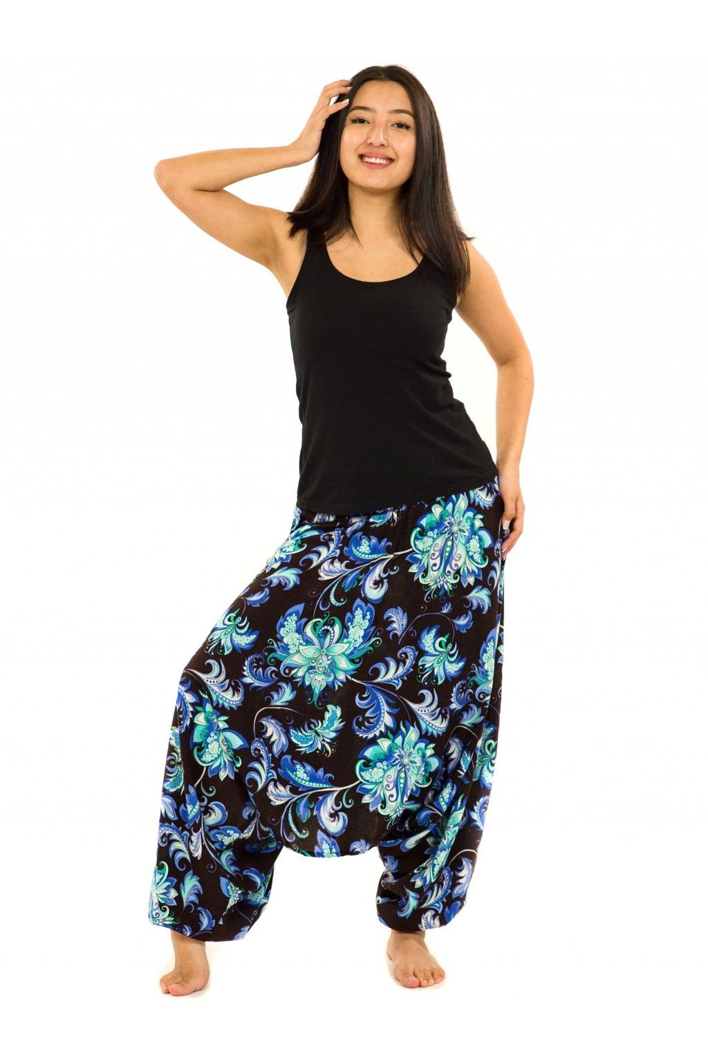 Kalhoty-šaty-top 3v1 Rauna - černé s tyrkysovou