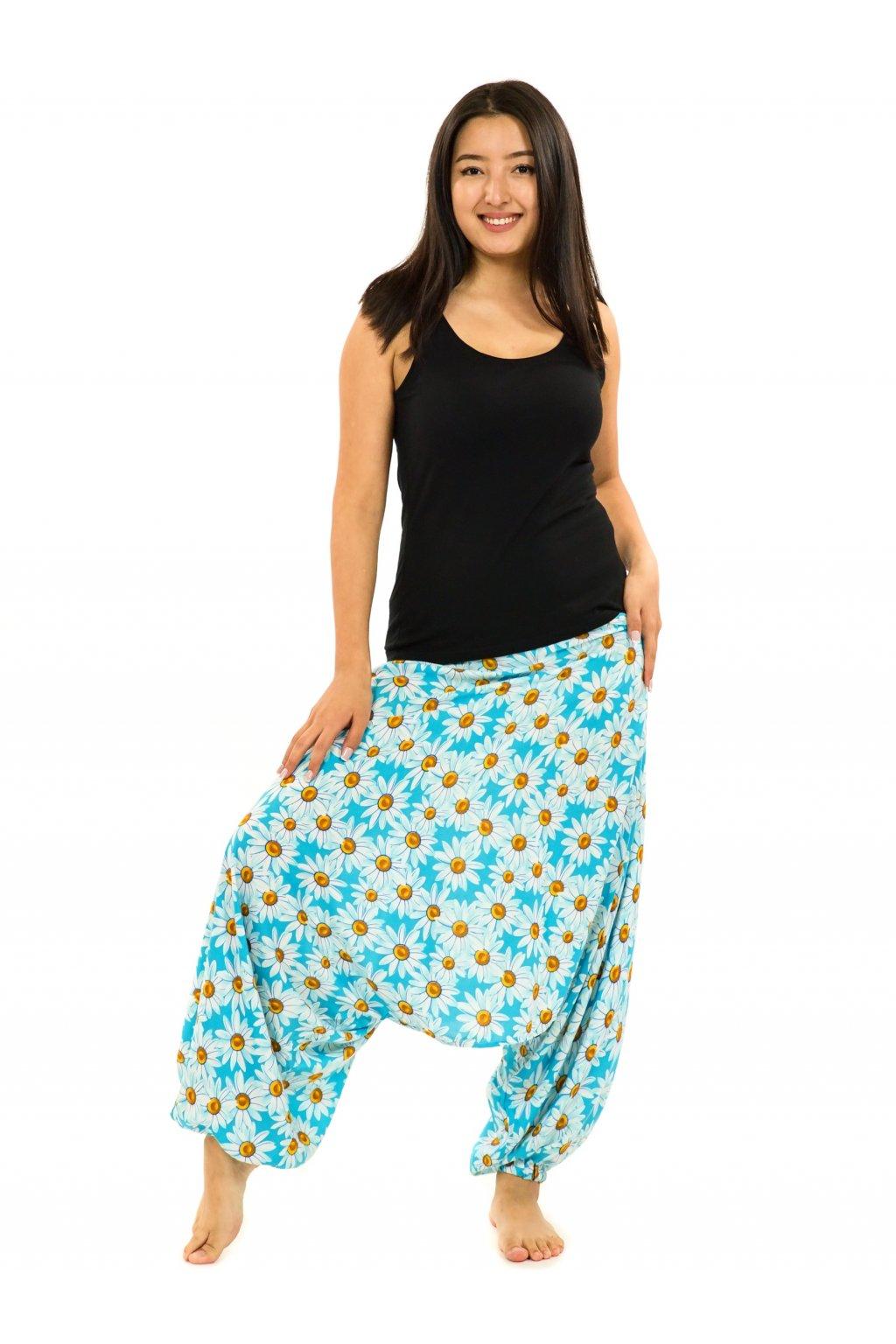 Kalhoty-šaty-top 3v1 Kopretina - tyrkysová