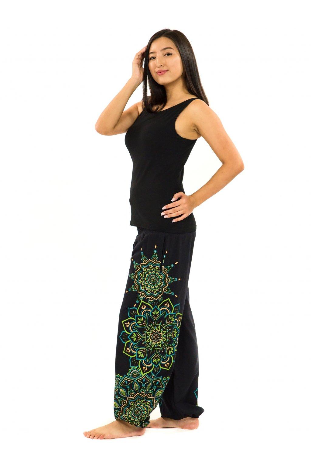 Kalhoty Damsa - černá se zelenou