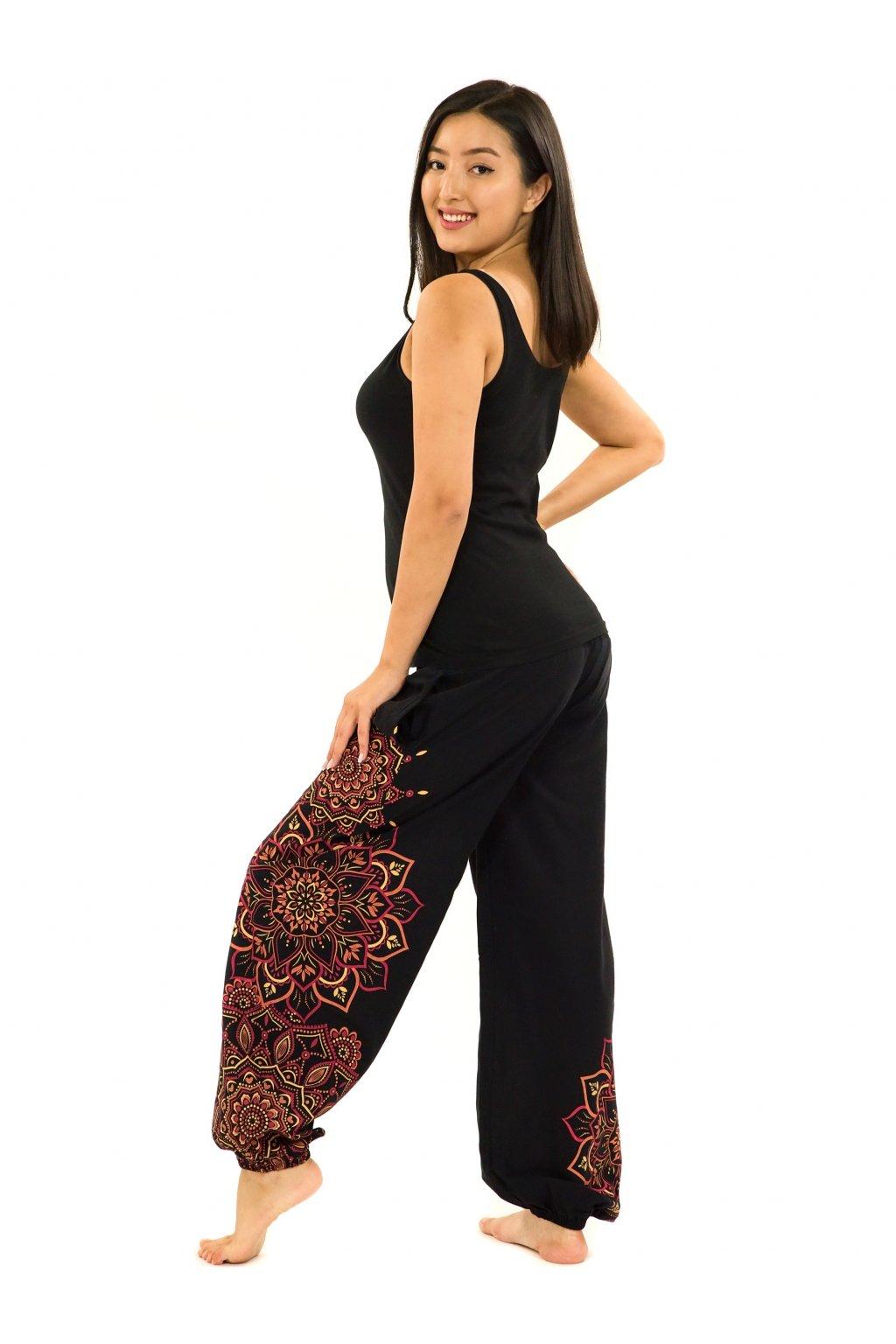 Kalhoty Damsa - černá s červenou
