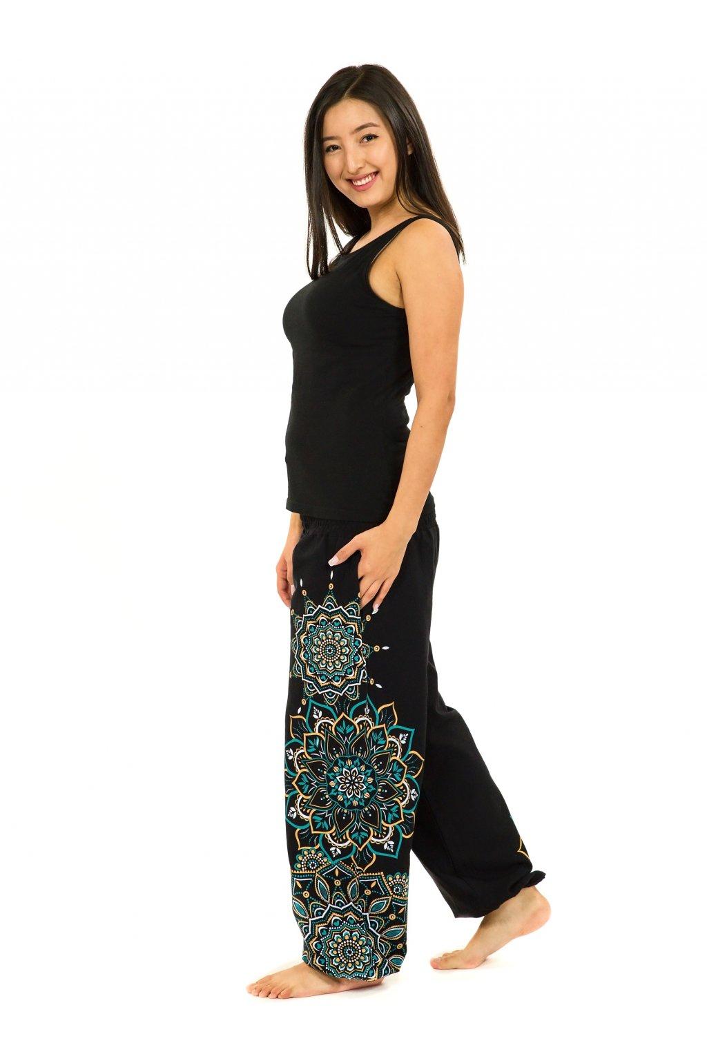 Kalhoty Damsa - černá s tyrkysovou a žlutou