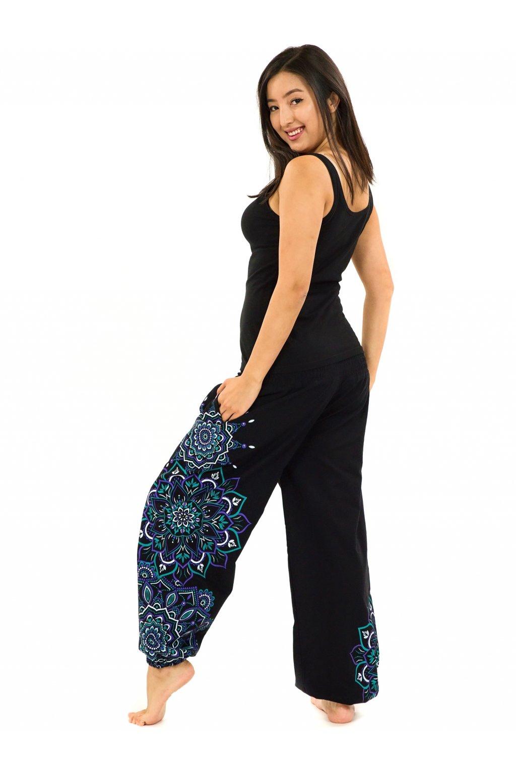 Kalhoty Damsa - černá s tyrkysovou a fialovou