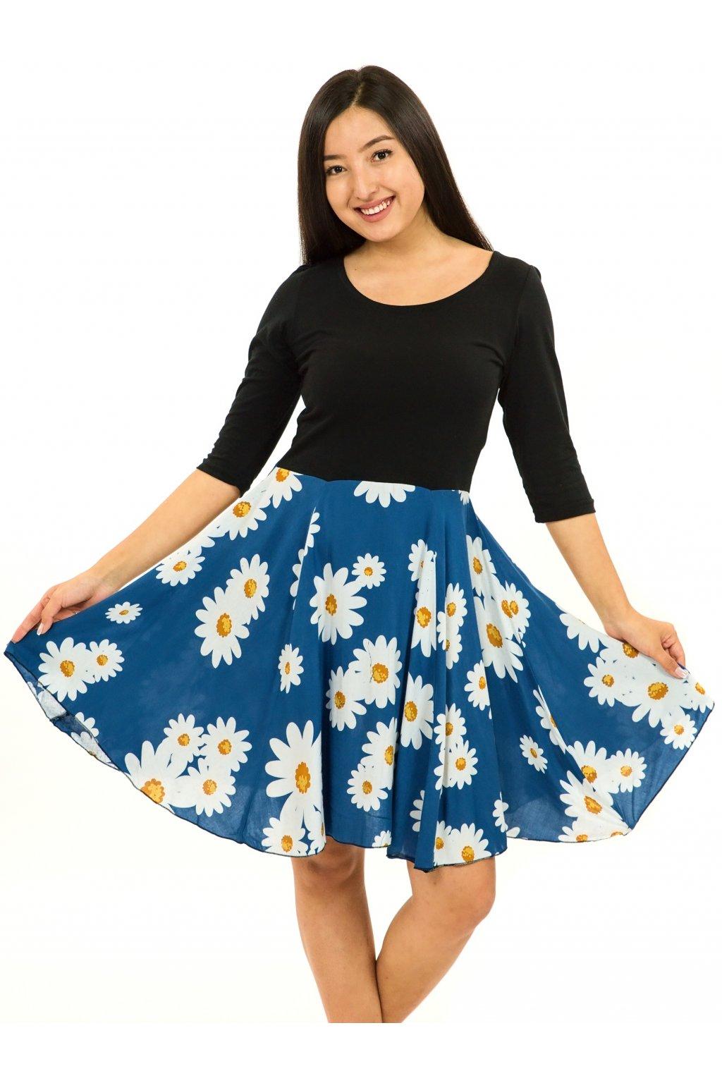 Šaty s 3/4 rukávem Kopretina - modrá