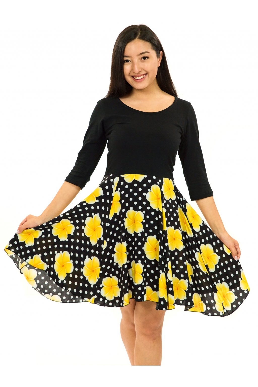 Šaty s 3/4 rukávem Plumeria - černá se žlutou