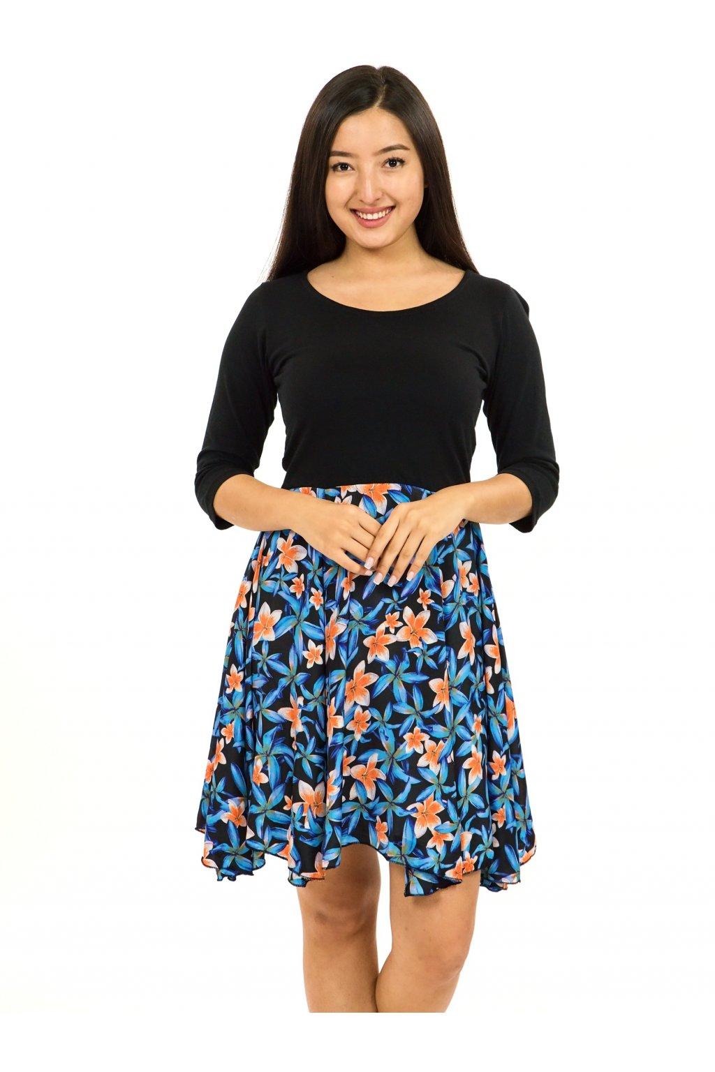 Šaty s 3/4 rukávem Plumeria - tyrkysová s oranžovou