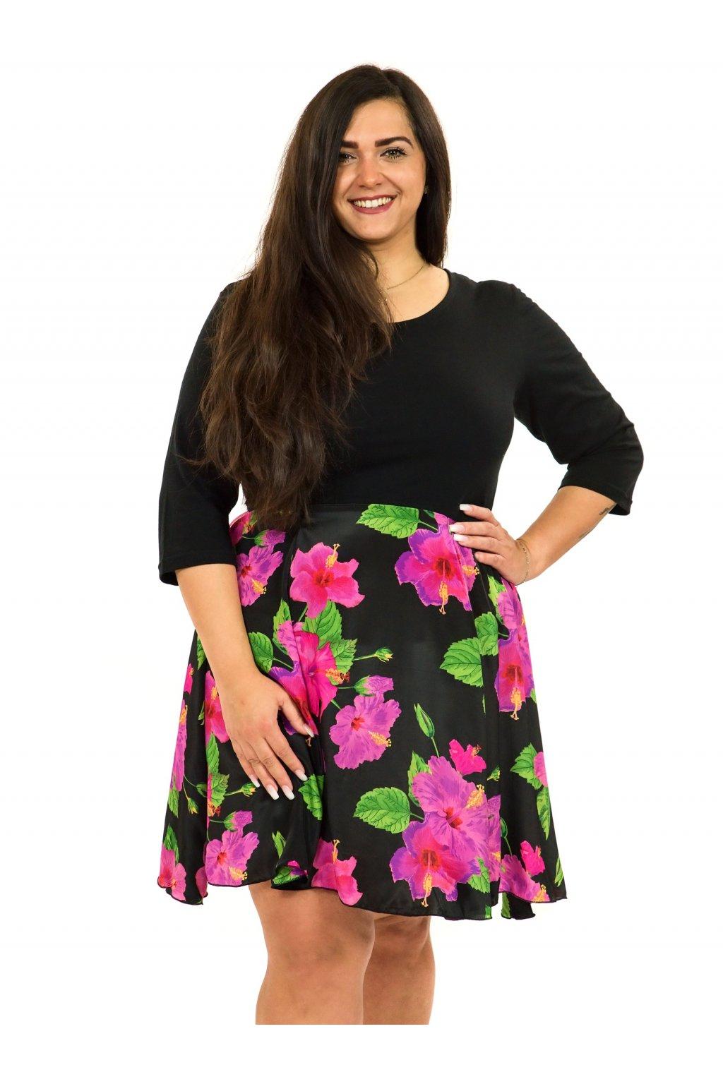 Šaty s 3/4 rukávem Ibišek - černá s růžovou