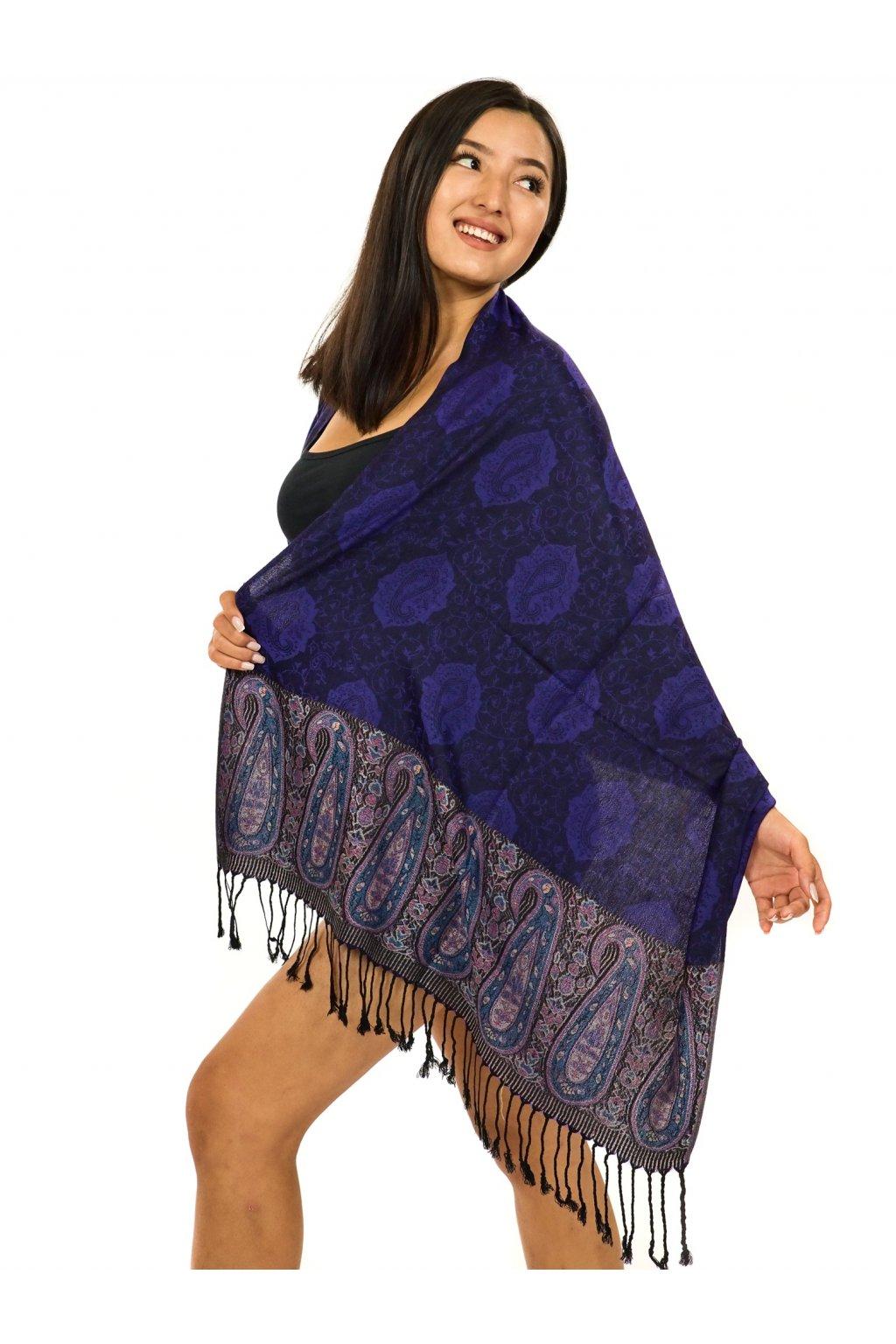 Šátek pašmína Nepal - černá s fialovou