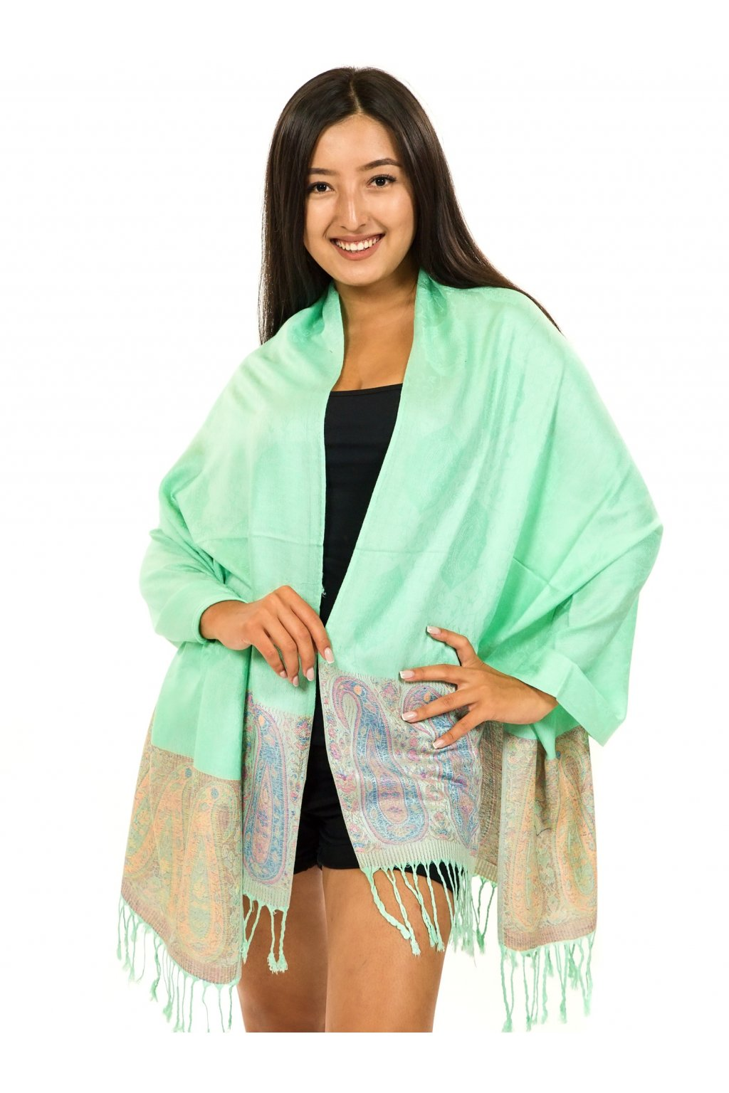 Šátek pašmína Nepal - mintová