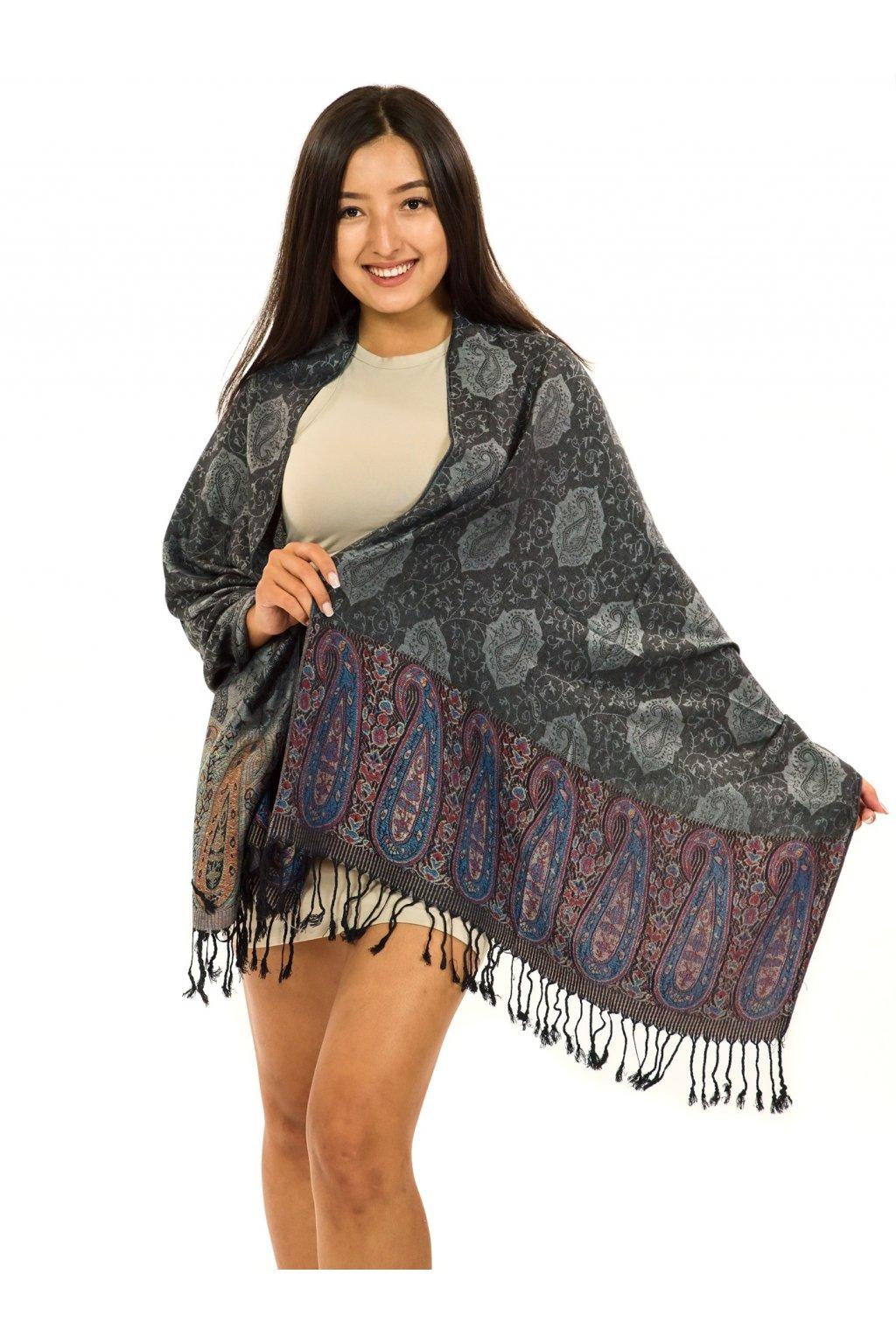Šátek pašmína Nepal - černá se šedou