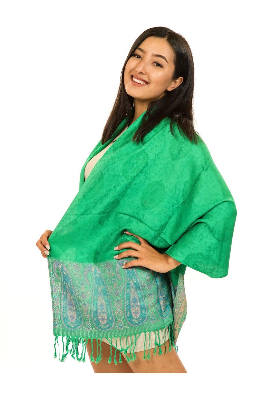 Šátek pašmína Nepal - smaragdová