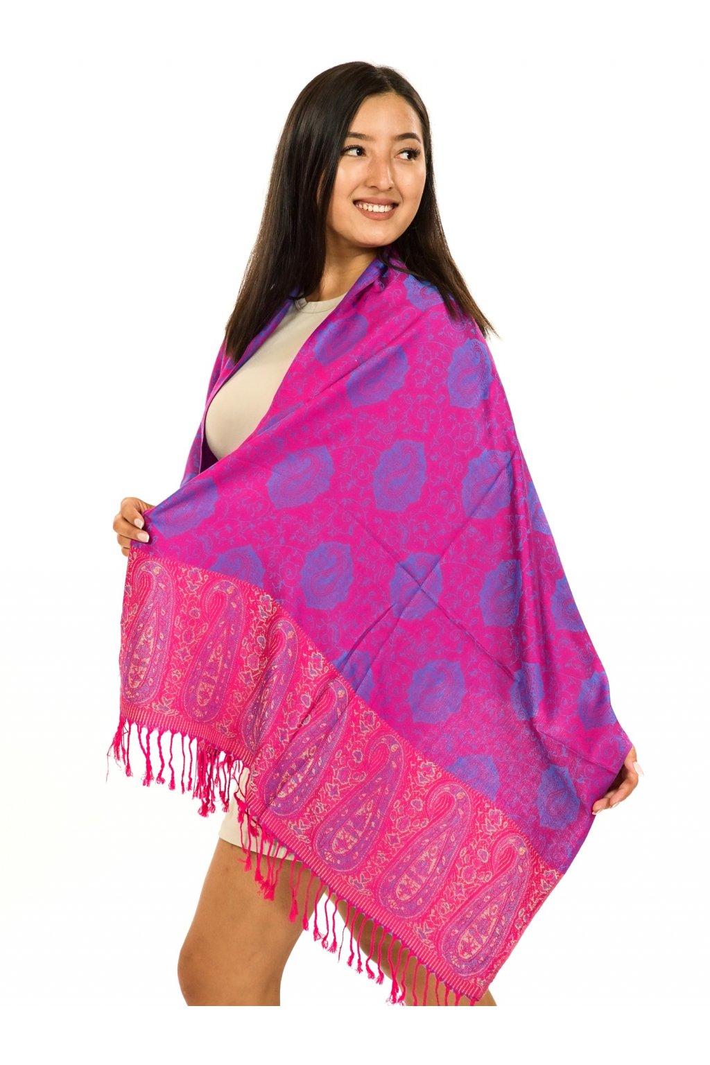 Šátek pašmína Nepal - růžová s fialovou