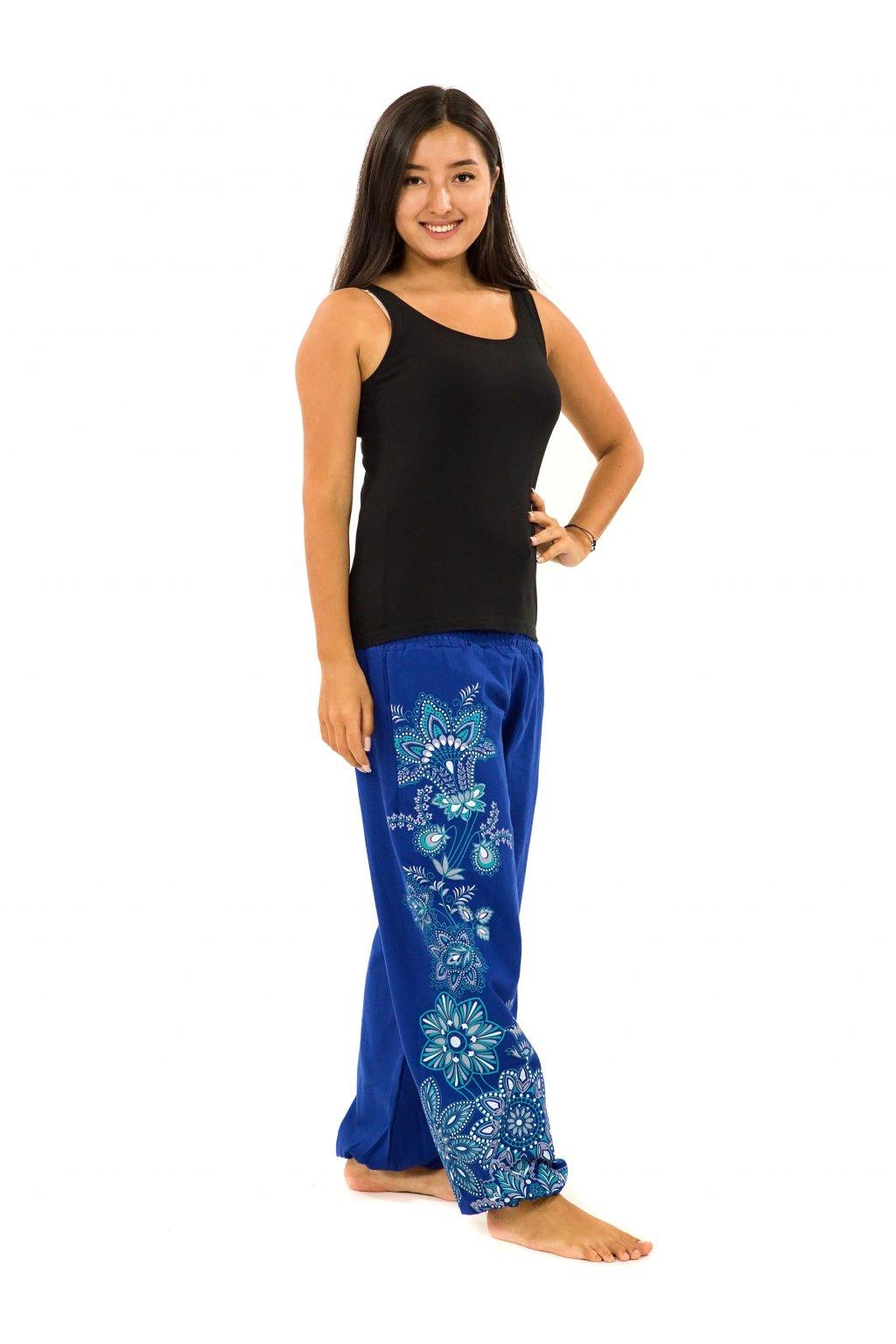 Kalhoty Tahira - modrá s tyrkysovou