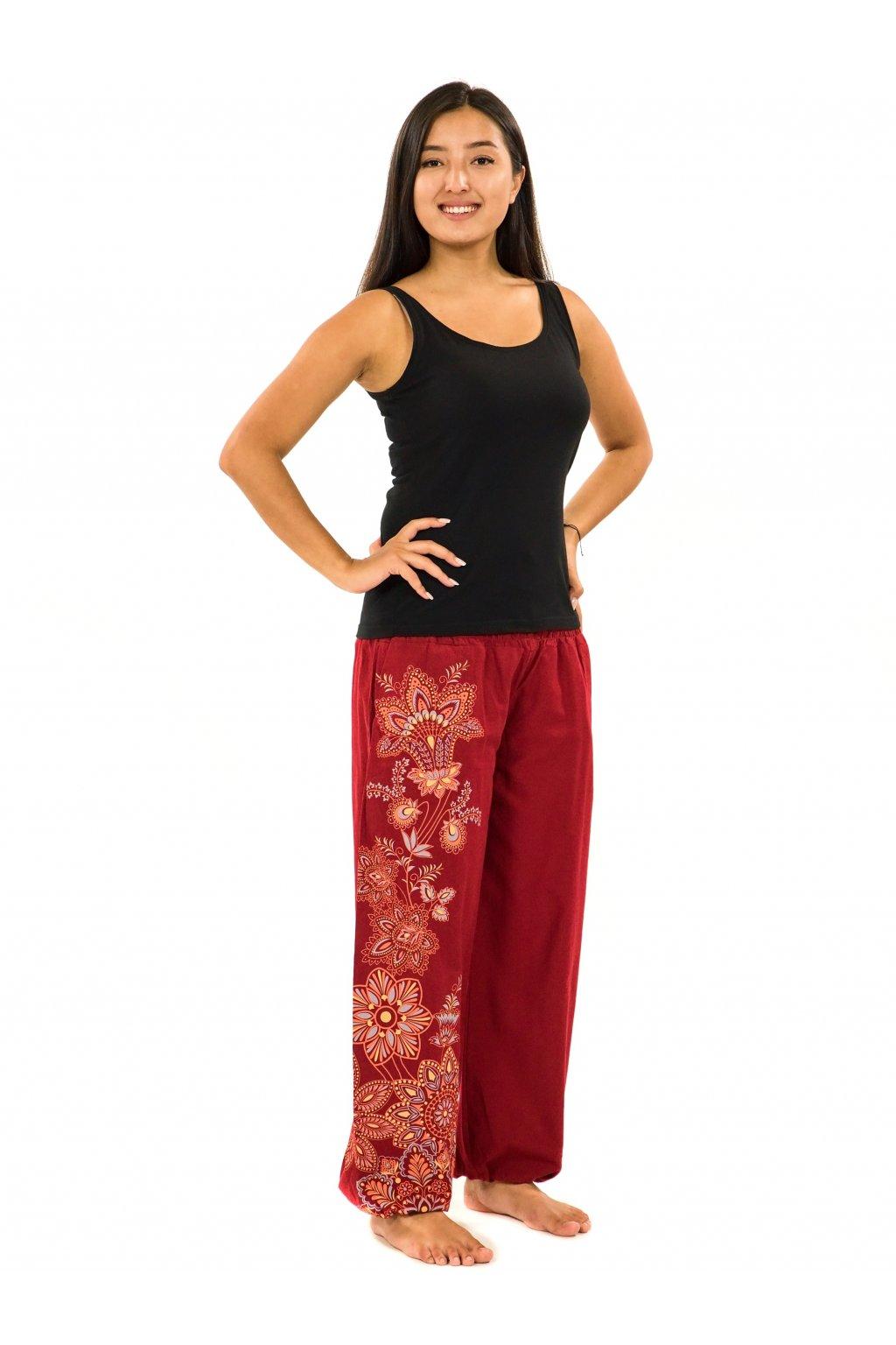Kalhoty Tahira - vínová s oranžovou